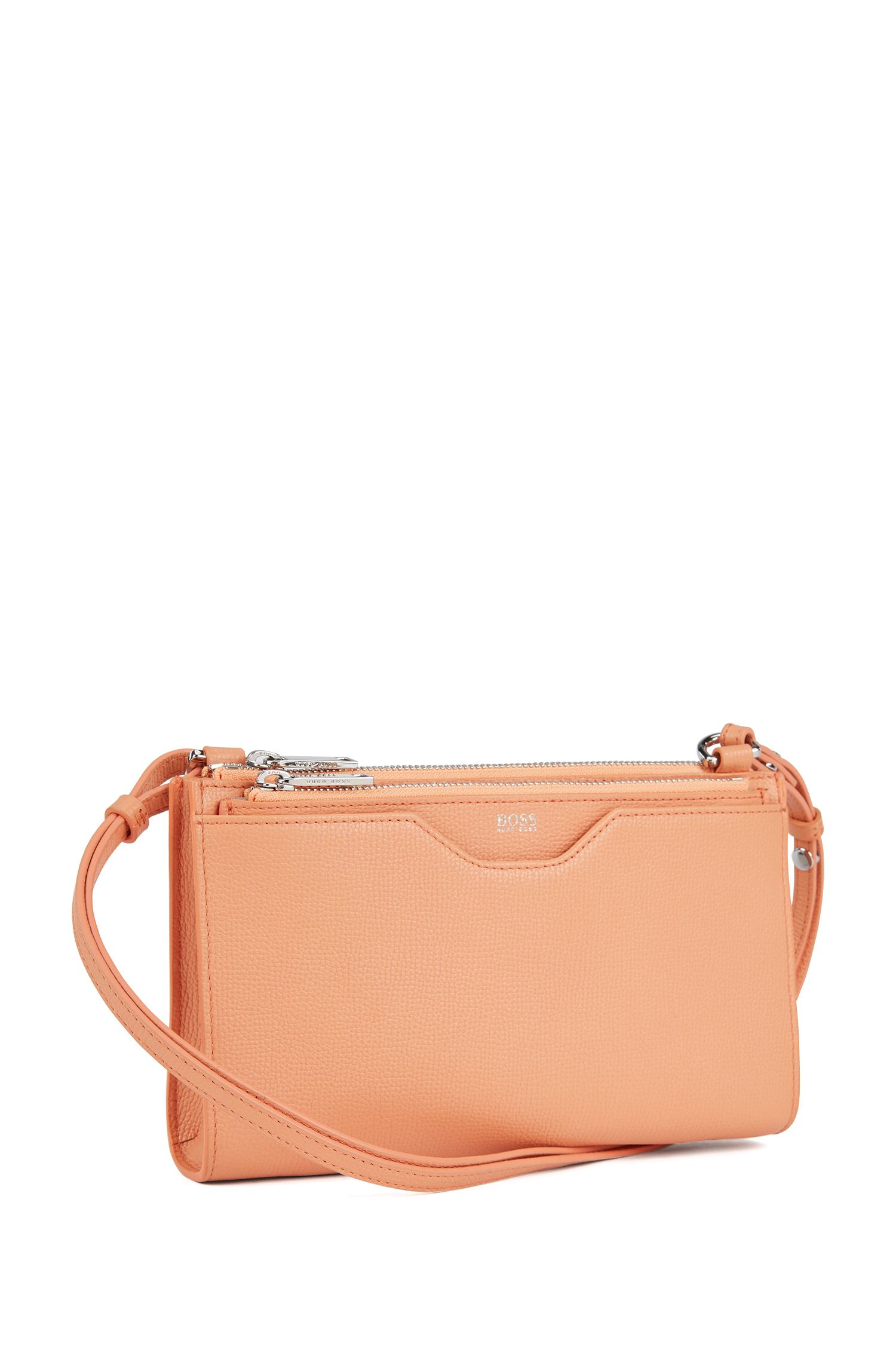 Mini handbag in grained Italian leather, Orange