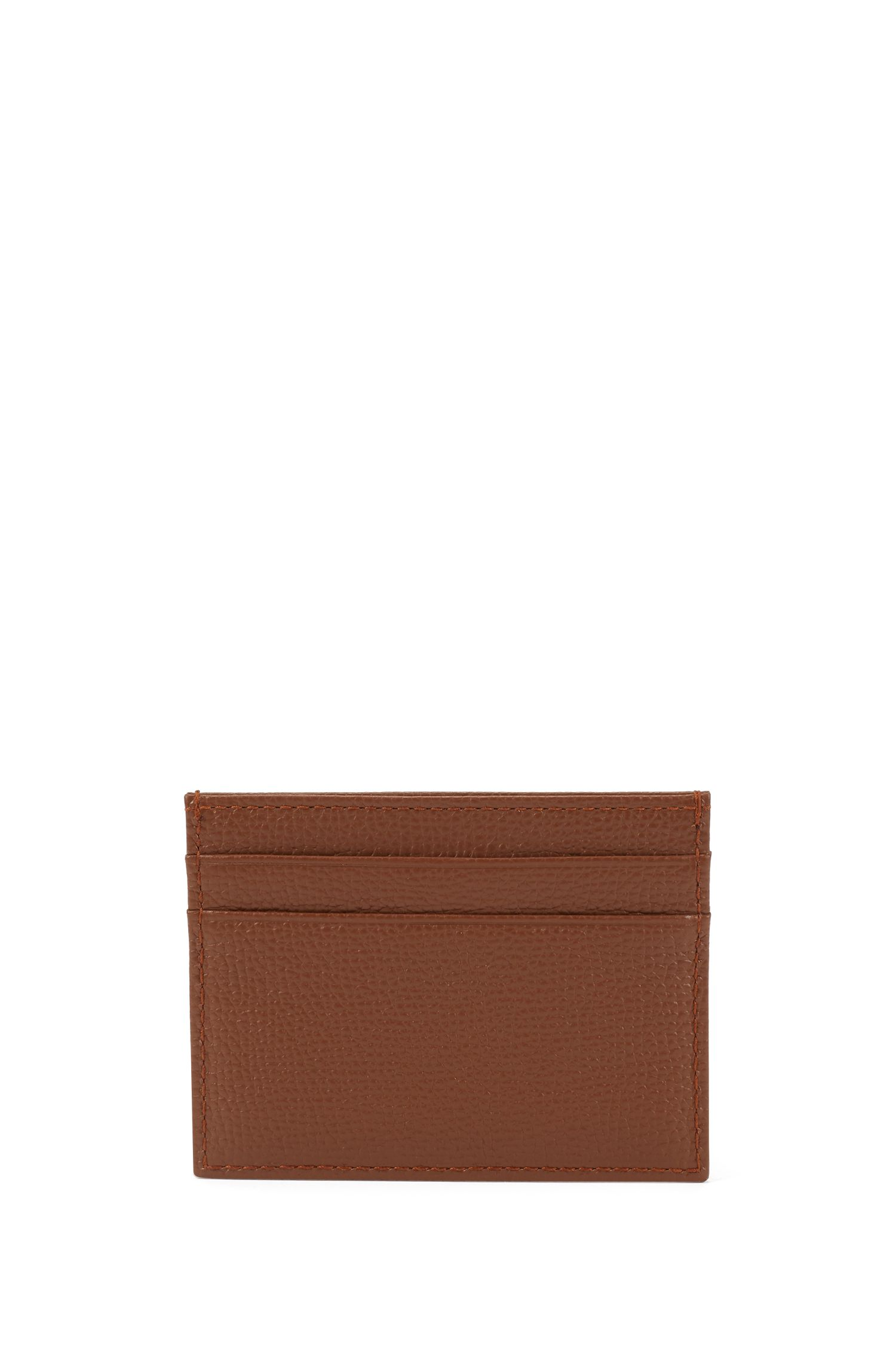 Card holder in grained Italian leather, Light Brown
