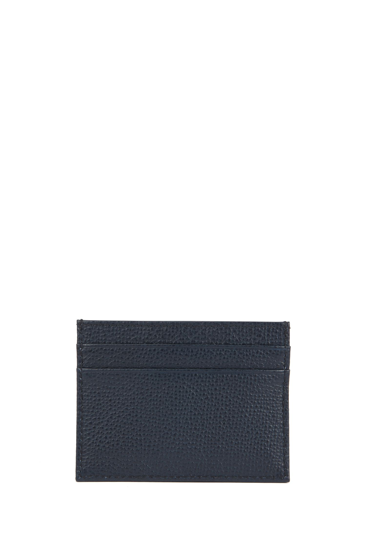 Card holder in grained Italian leather, Dark Blue