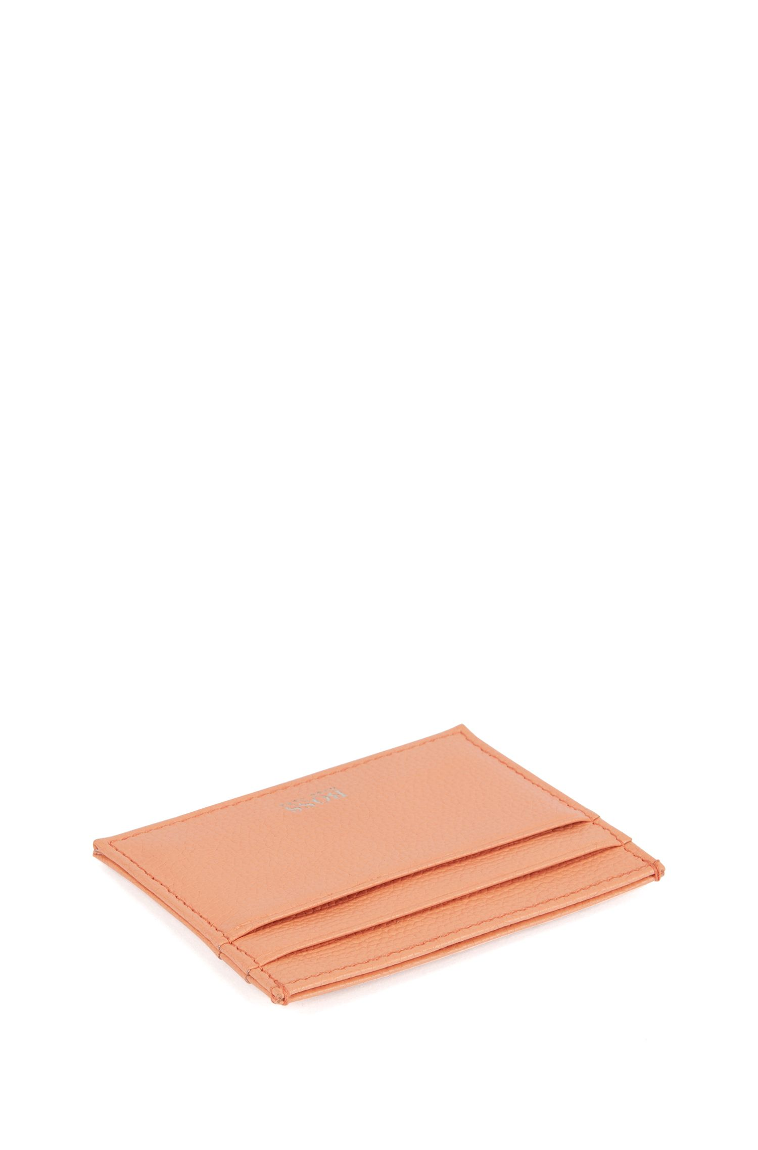 Card holder in grained Italian leather, Orange