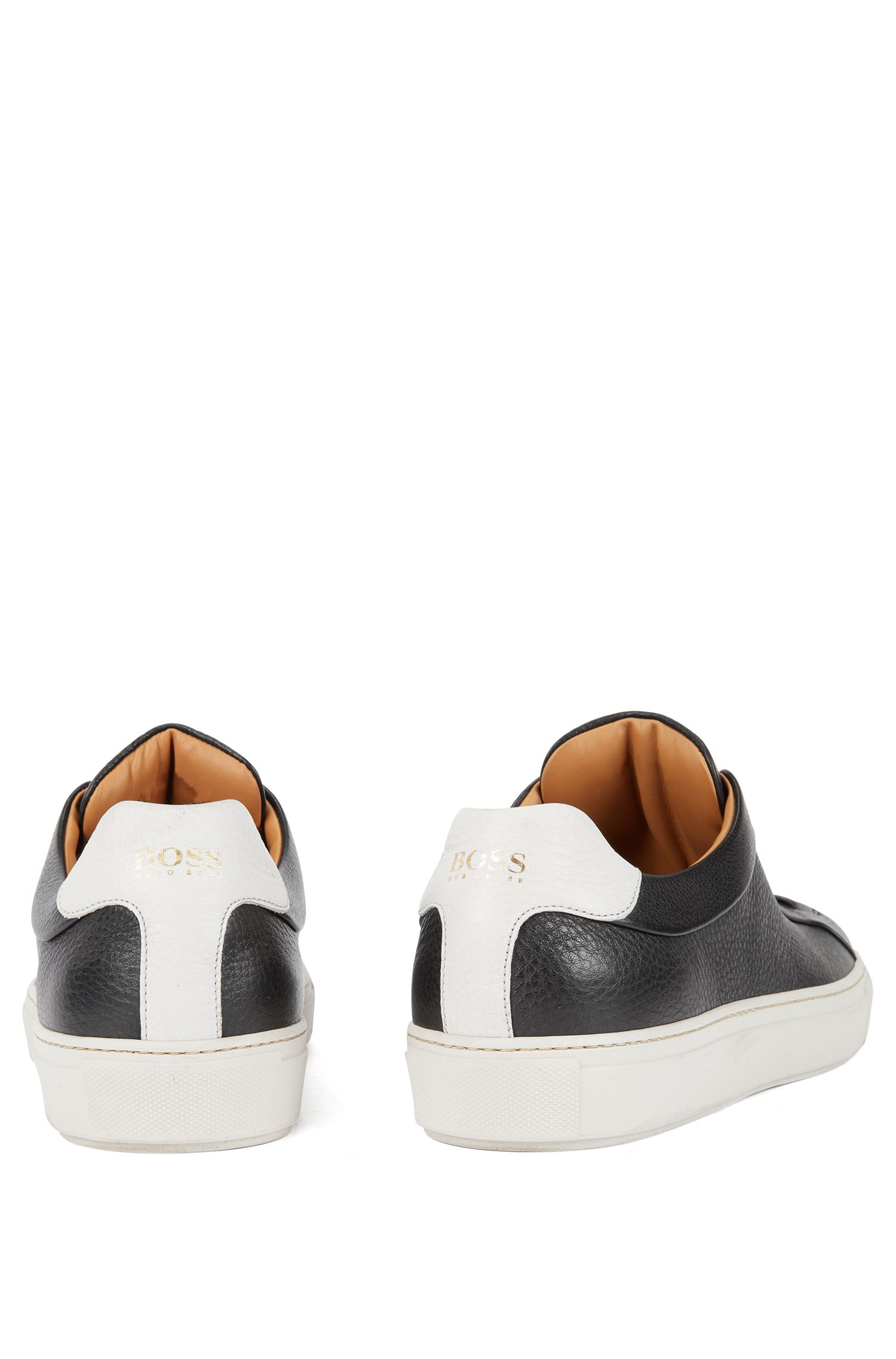 Tennis-style trainers in grainy calf leather, Black