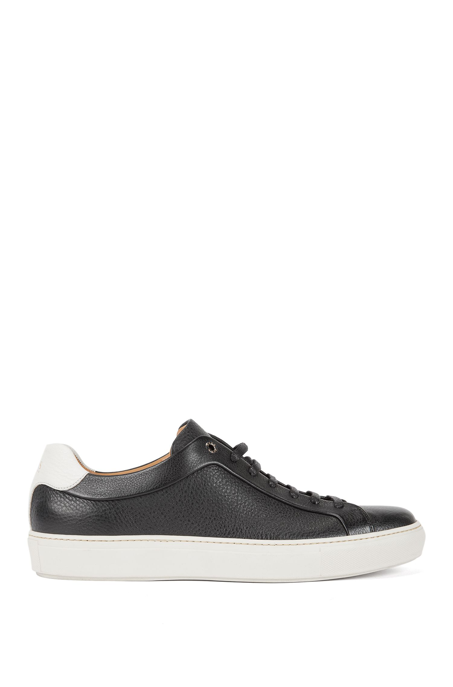 Sneakers stile tennis in pelle di vitello martellata, Nero