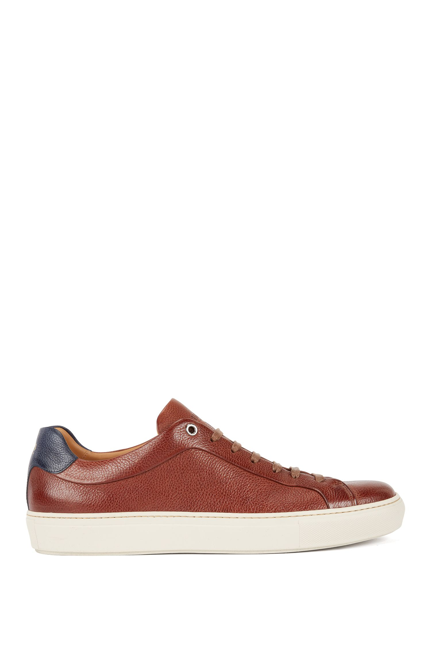 Tennis-style trainers in grainy calf leather, Brown