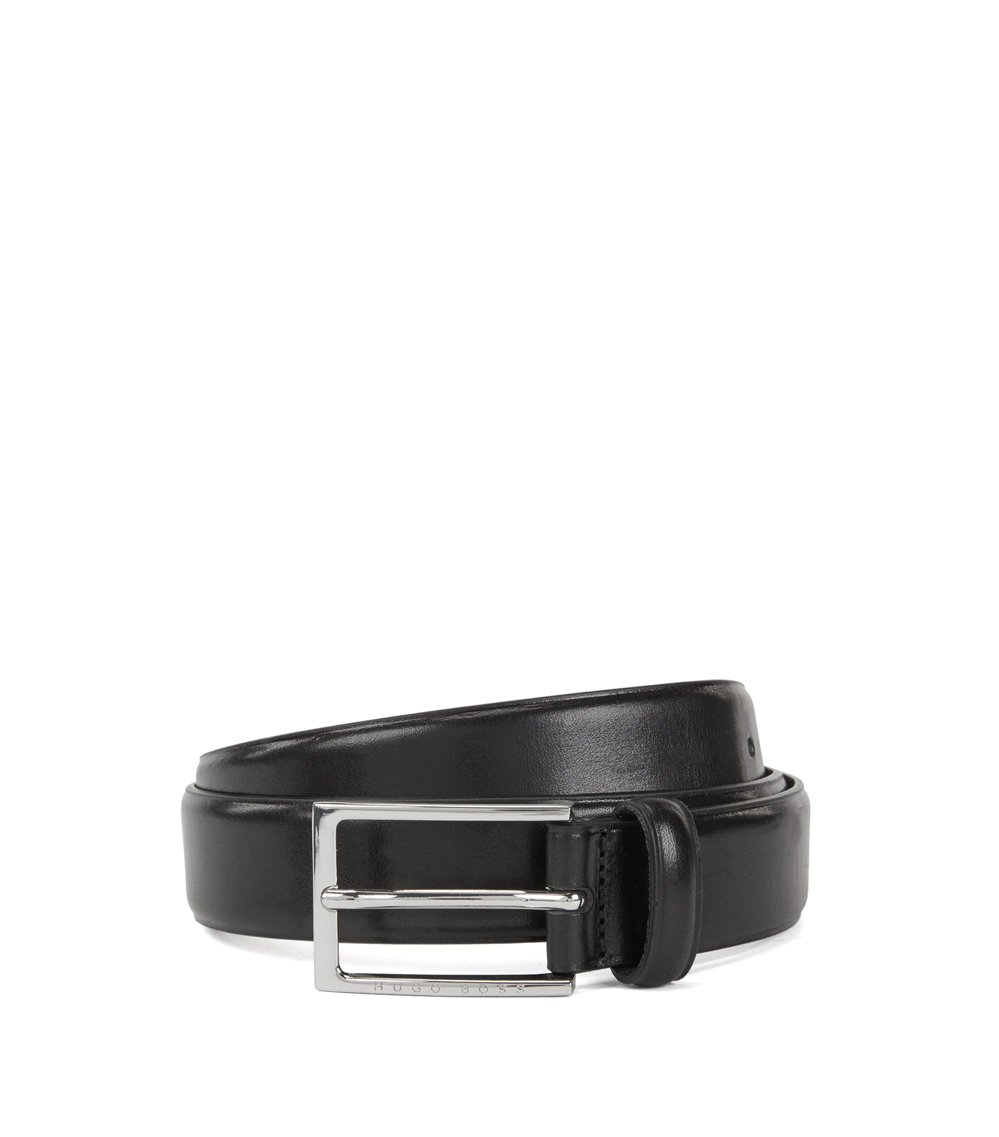 Vegetable-tanned leather belt with silver-tone buckle, Black
