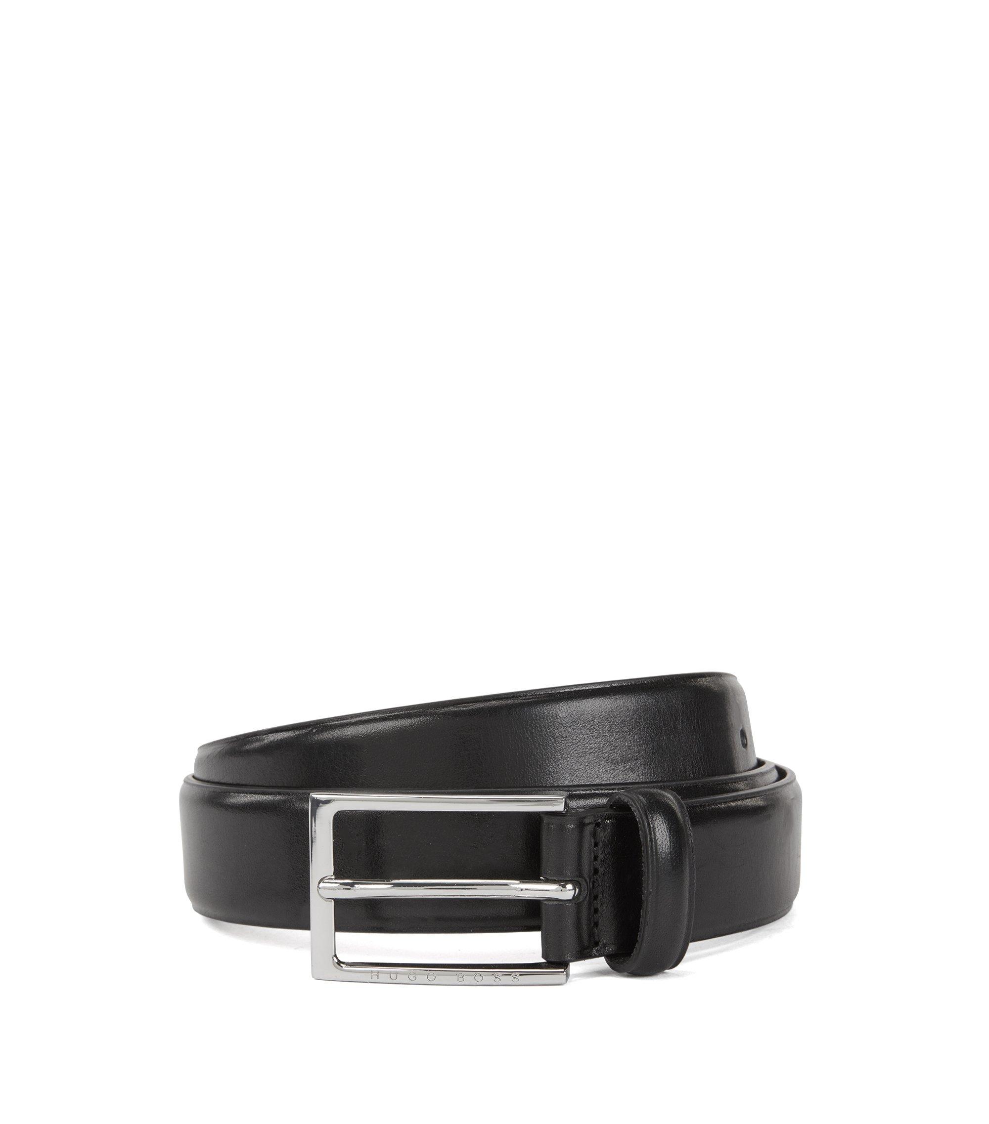 Pflanzlich gegerbter Ledergürtel mit Schließe in Silber-Optik, Schwarz