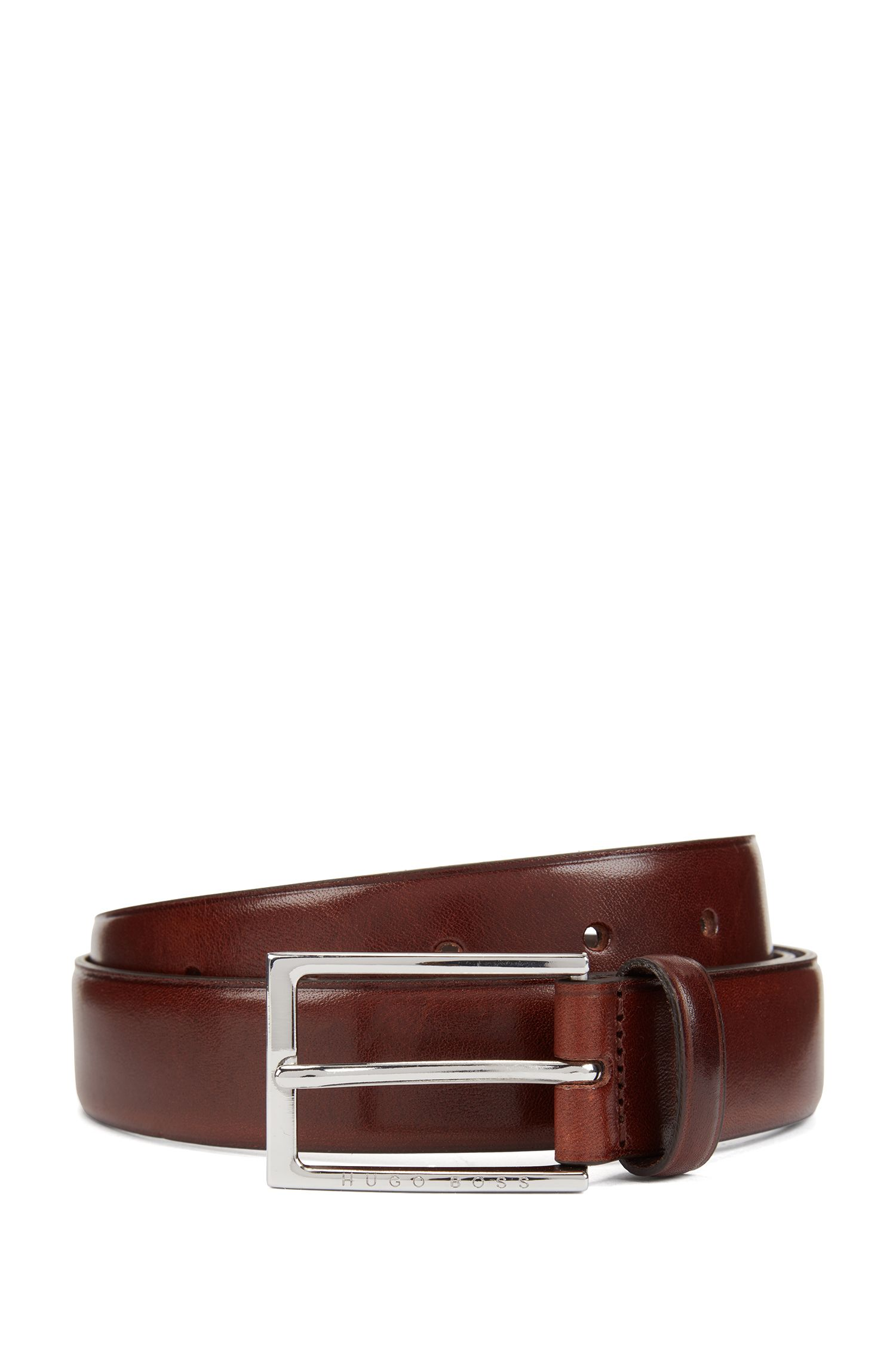 Vegetable-tanned leather belt with silver-tone buckle, Dark Brown
