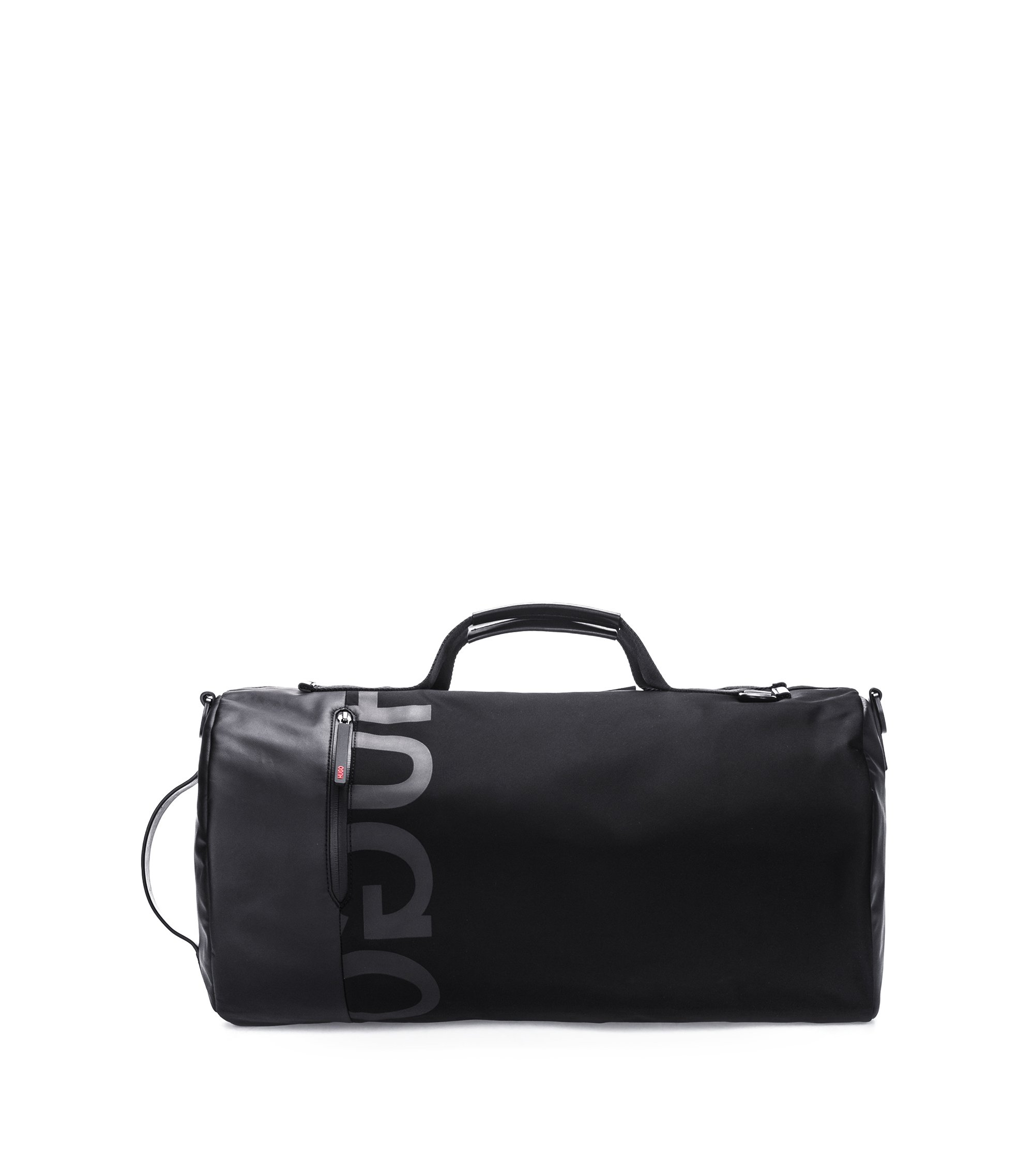 Reverse-logo holdall in technical gabardine, Black