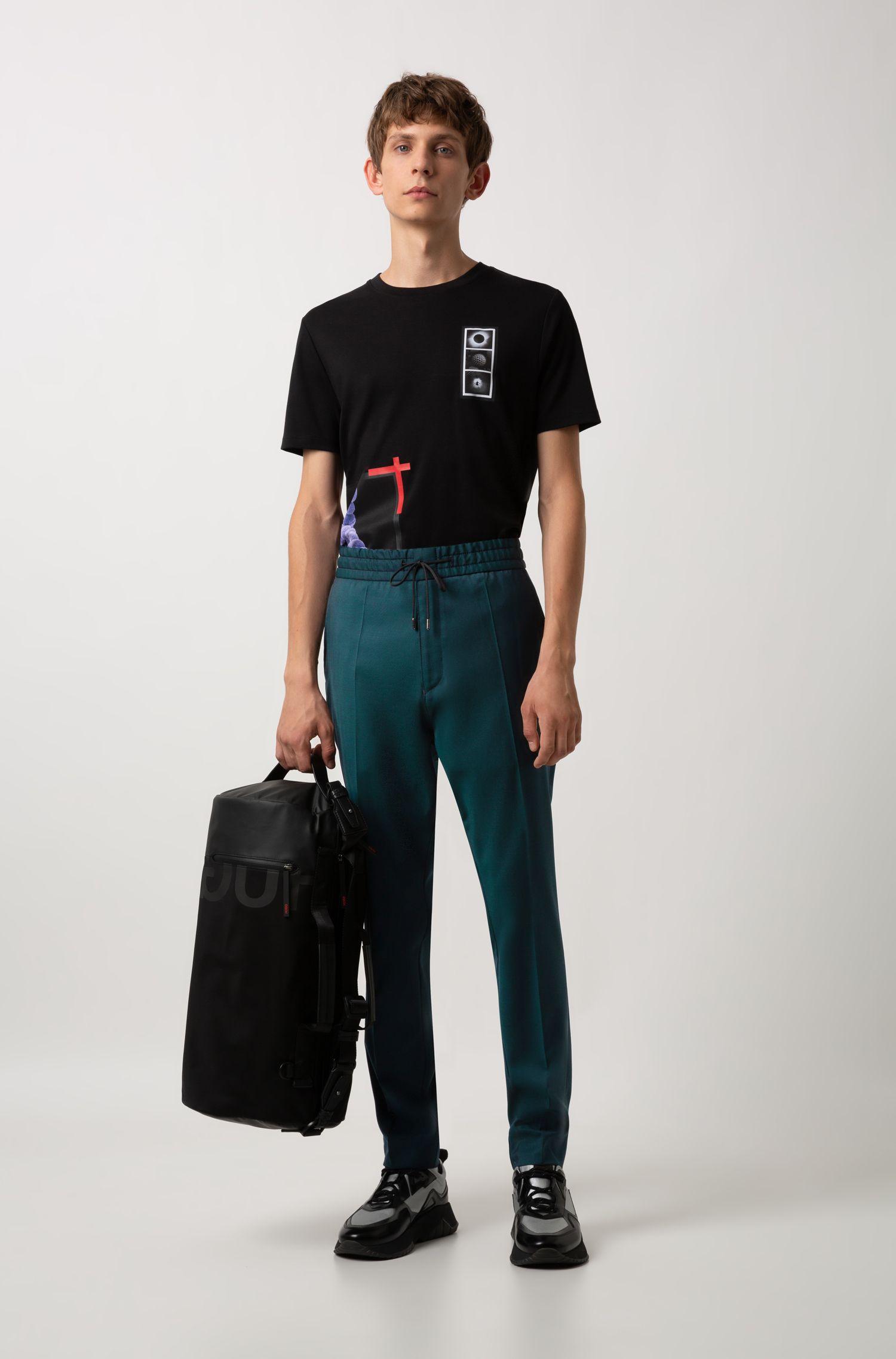 Weekendtas met gespiegeld logo van gabardine van technisch materiaal, Zwart