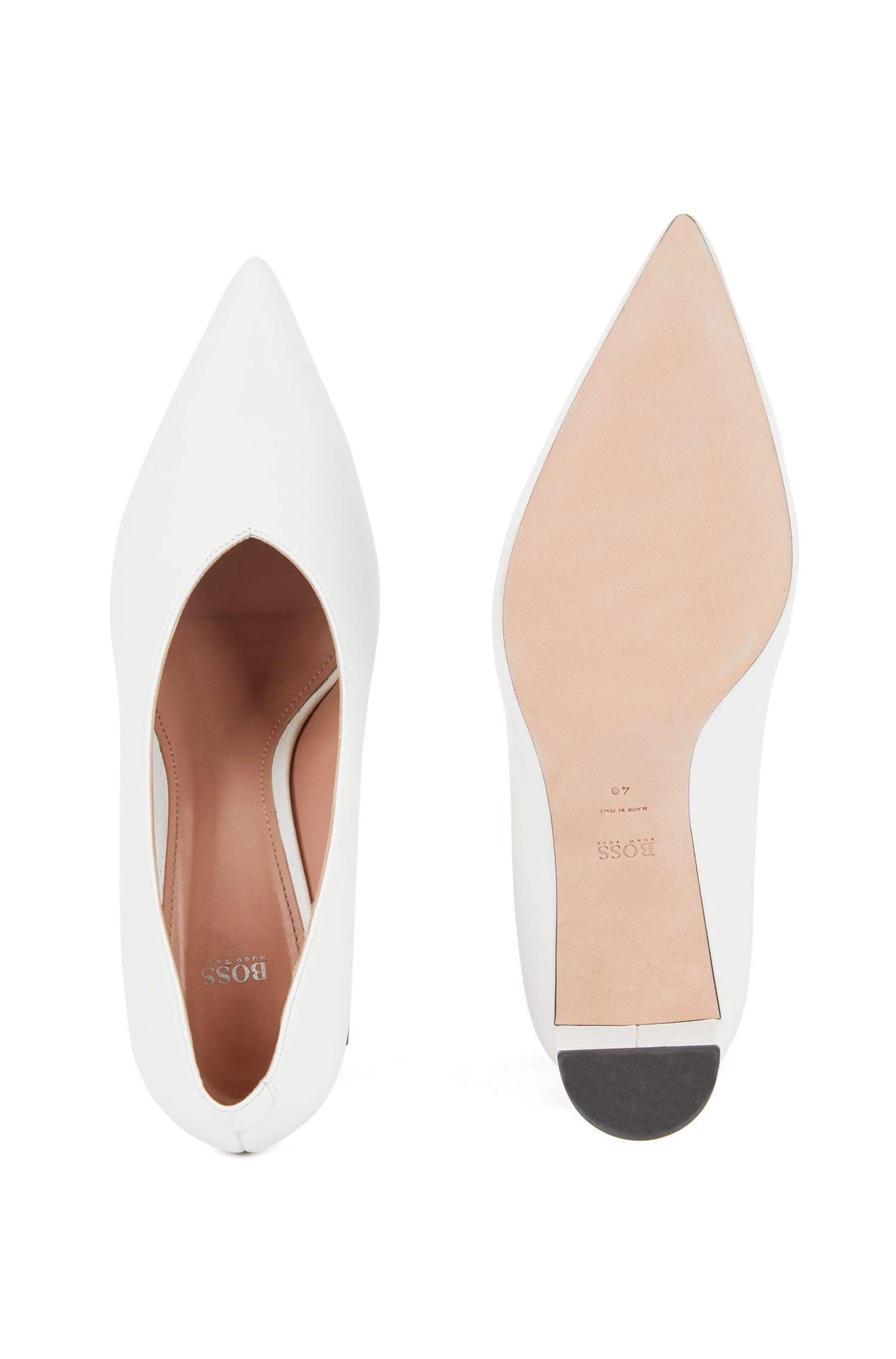 Lambskin leather pumps with V-cut vamps, White
