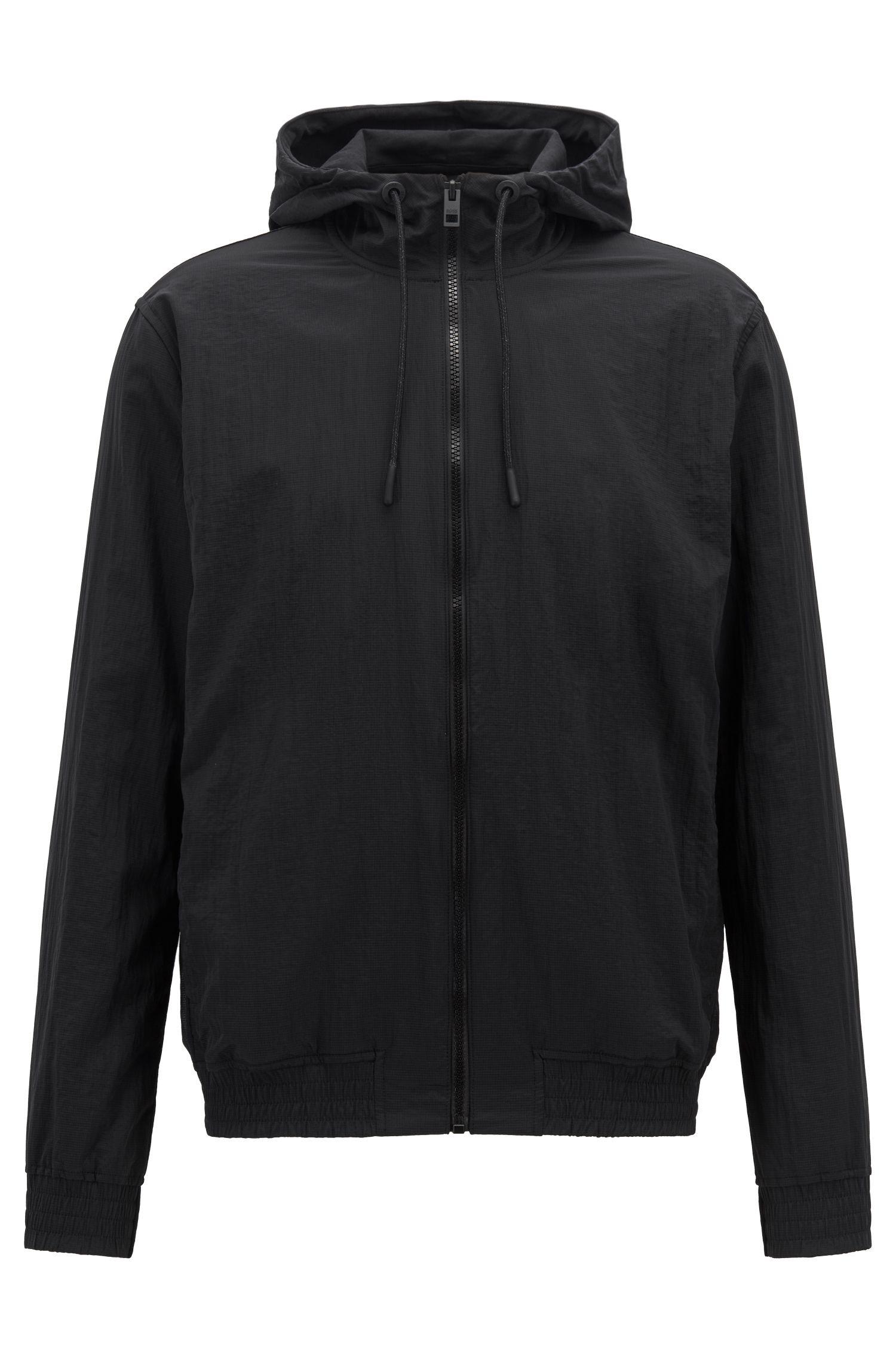 Lichte jas met capuchon en logoprint, gevoerd met jersey, Zwart