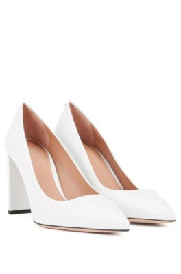 Leather pumps with 90mm block heel