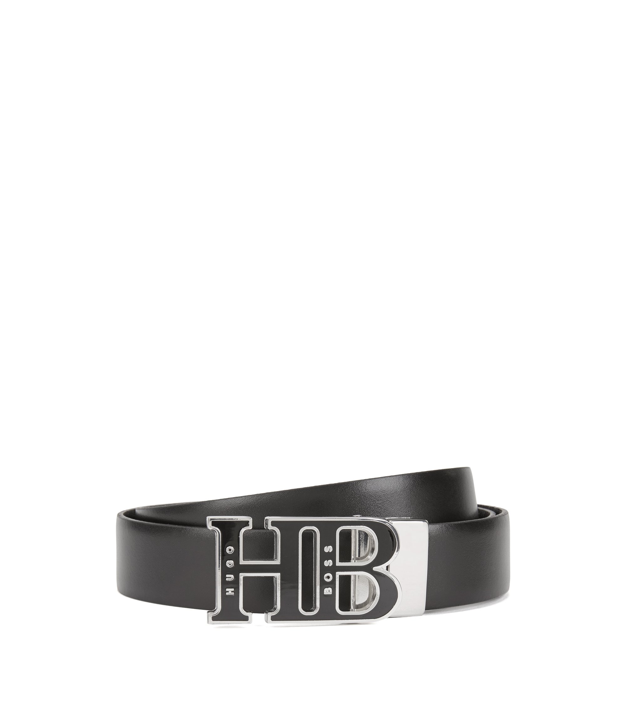 Italian-made reversible belt with enamelled HB plaque, Black