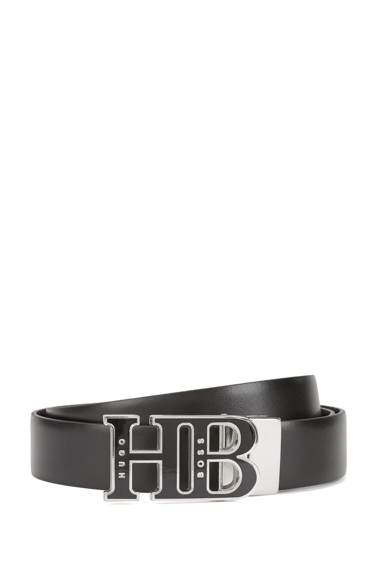 Cinturón reversible con placa esmaltada de HB fabricado en Italia, Negro