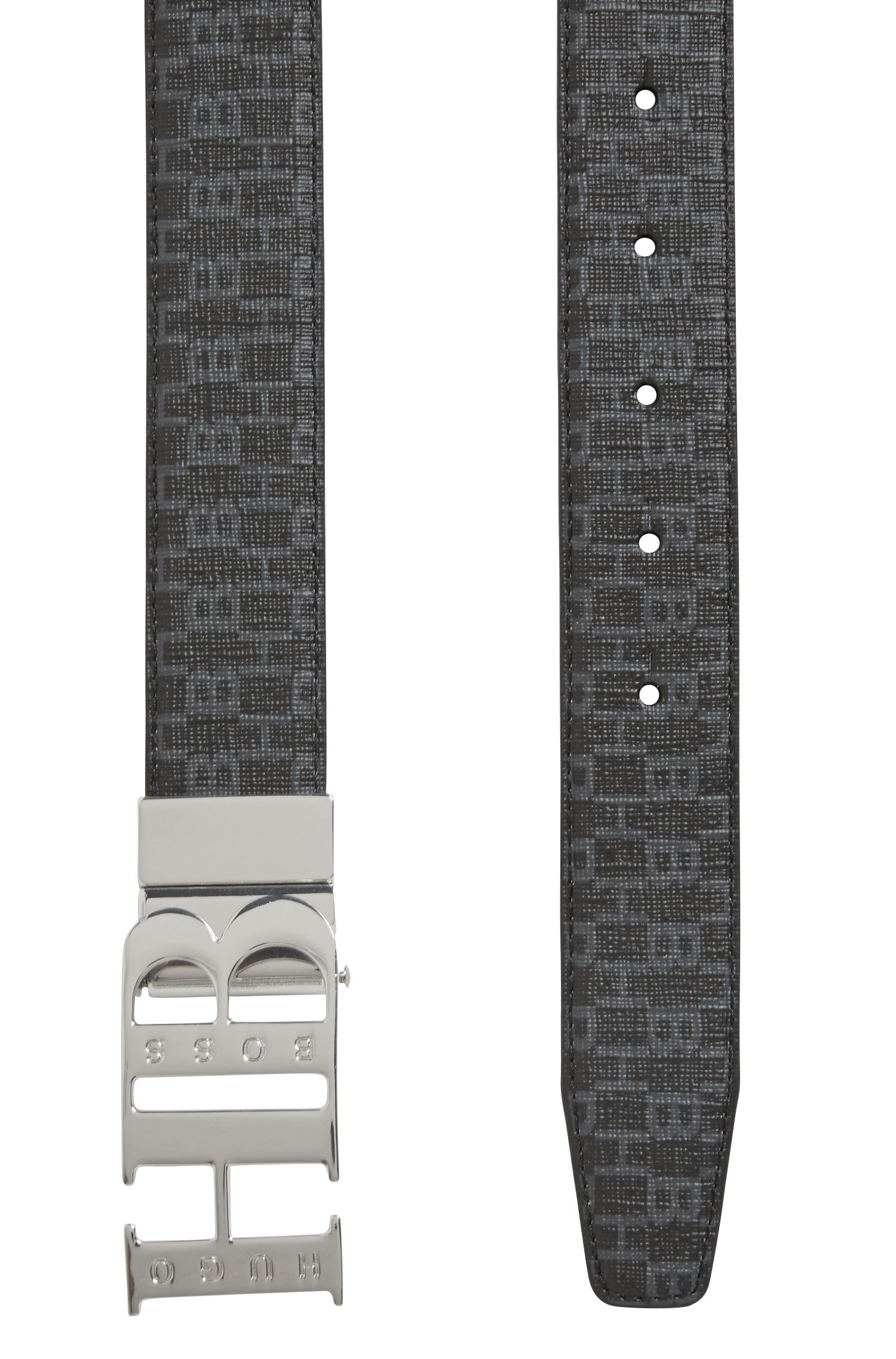 Italian-made reversible leather and fabric belt with HB closure, Black