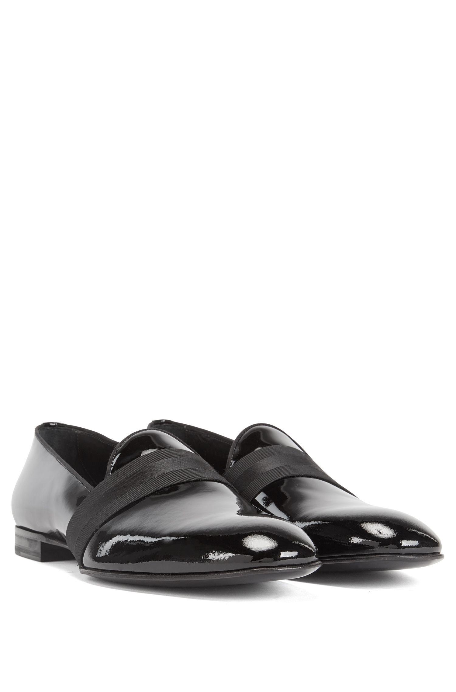 Zapatos sin cordones en charol de becerro italiano, Negro