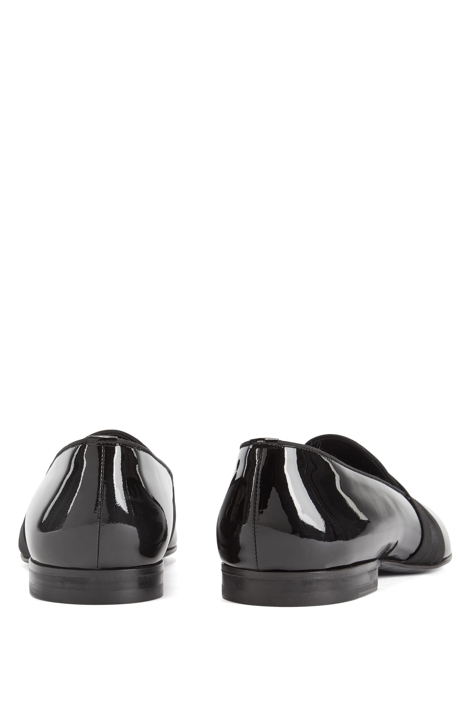 Slipper aus italienischem Lackleder, Schwarz
