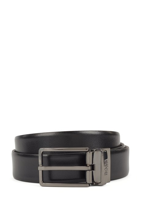 Reversible belt in smooth Italian leather, Black