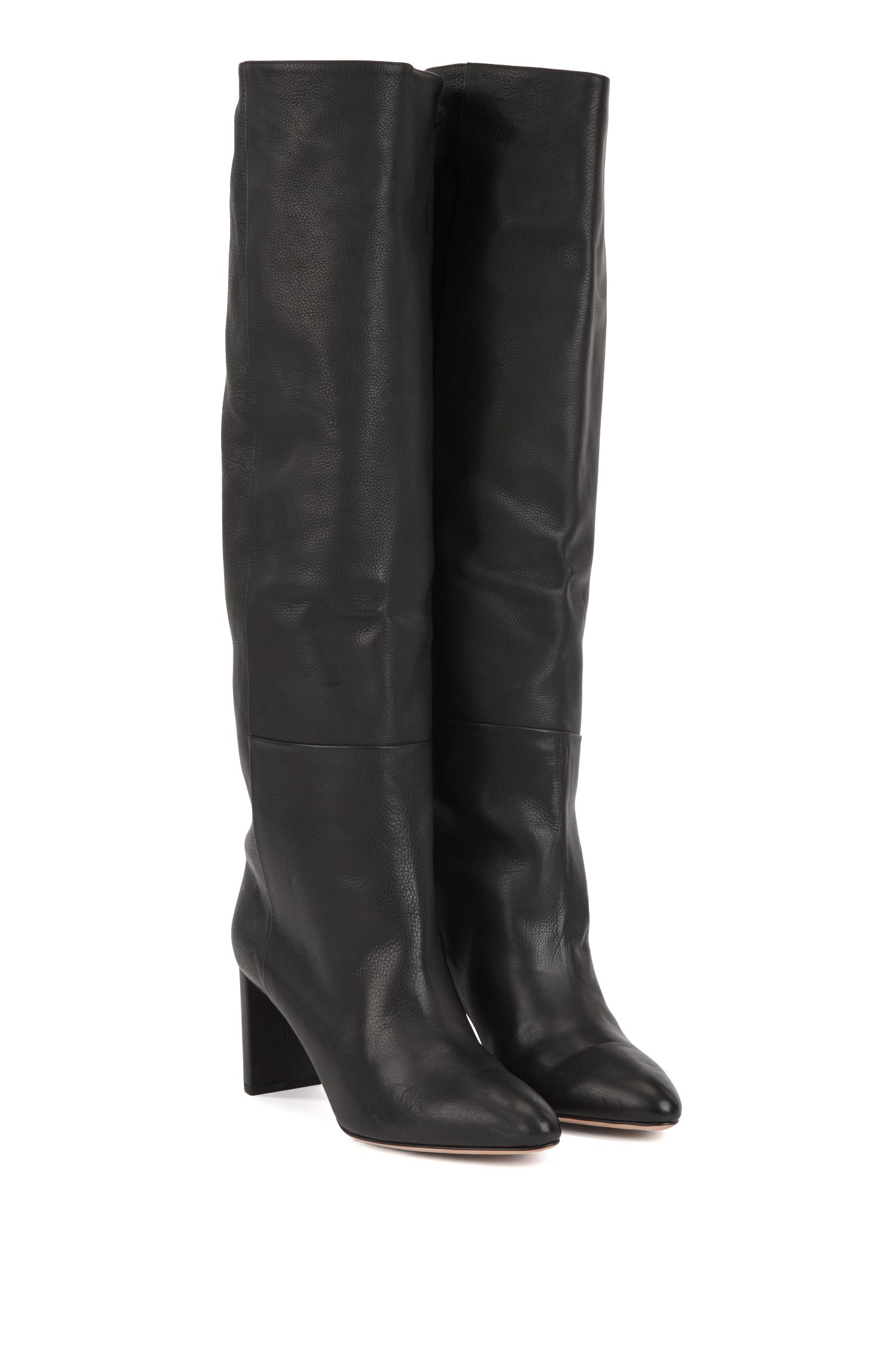 Knee-high boots in Italian calfskin, Black