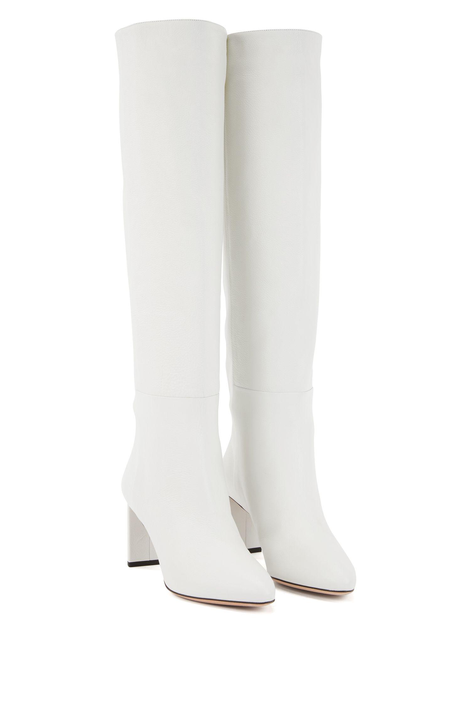 Kniehohe Boots aus italienischem Leder, Weiß