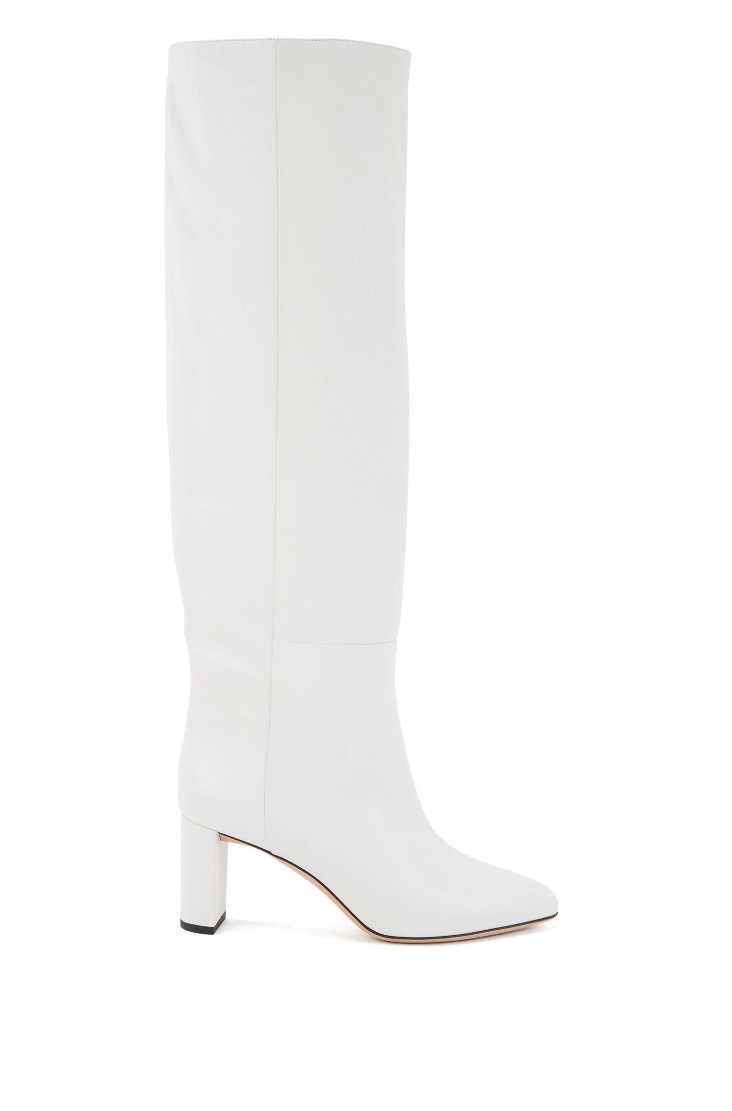 Knee-high boots in Italian calfskin, White