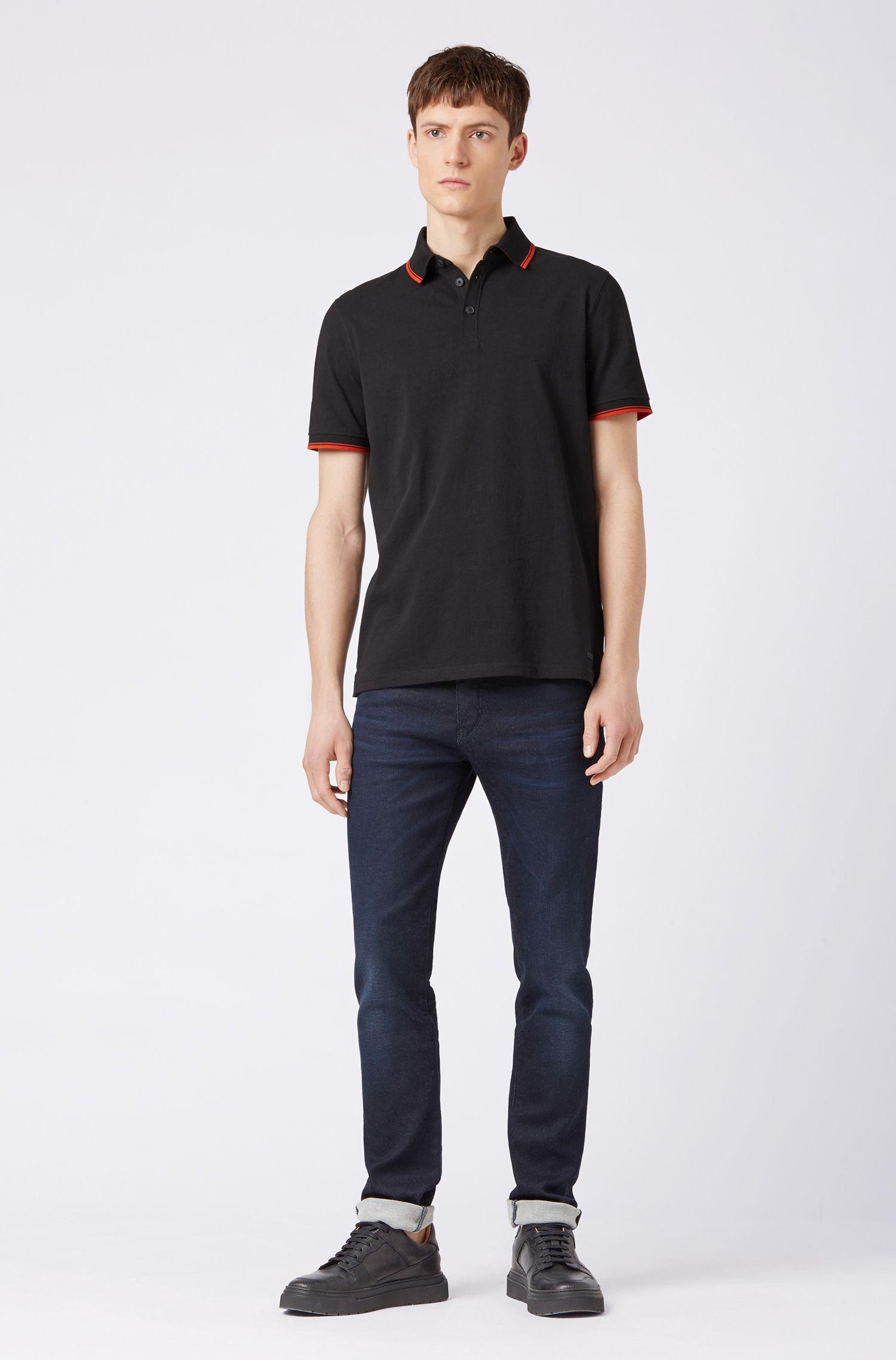 Poloshirt aus Jersey mit kontrastfarbenen Einfassungen, Schwarz