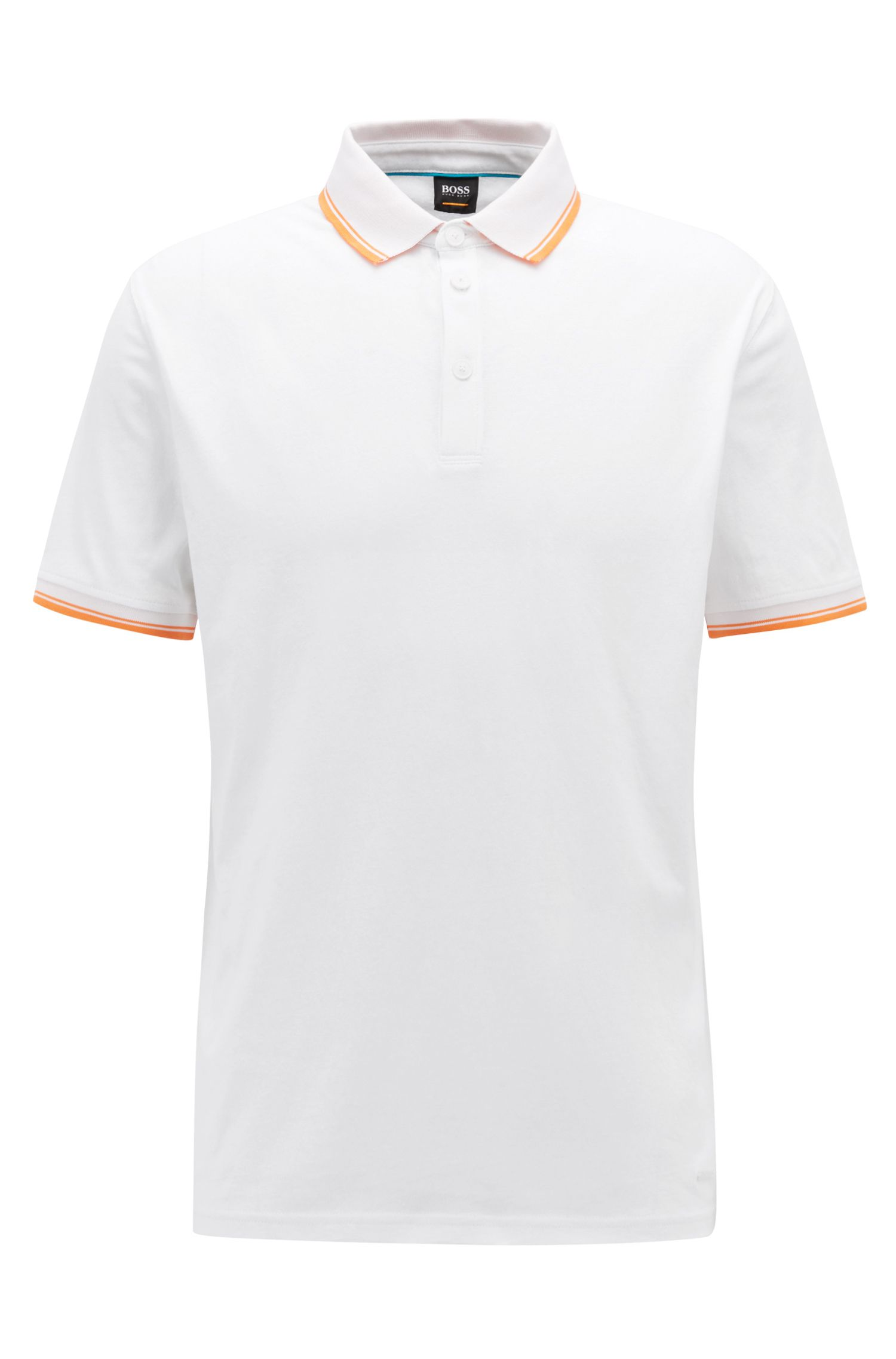 Relaxed-fit jersey polo shirt with contrast tipping, White