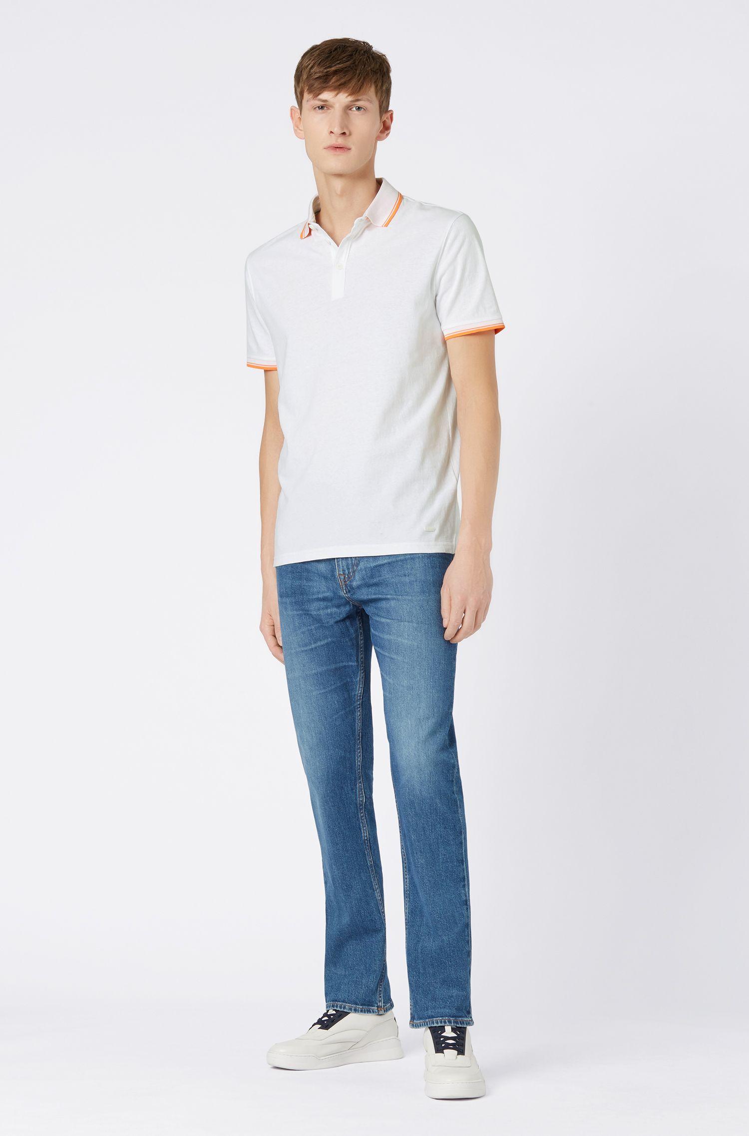 Poloshirt aus Jersey mit kontrastfarbenen Einfassungen, Weiß