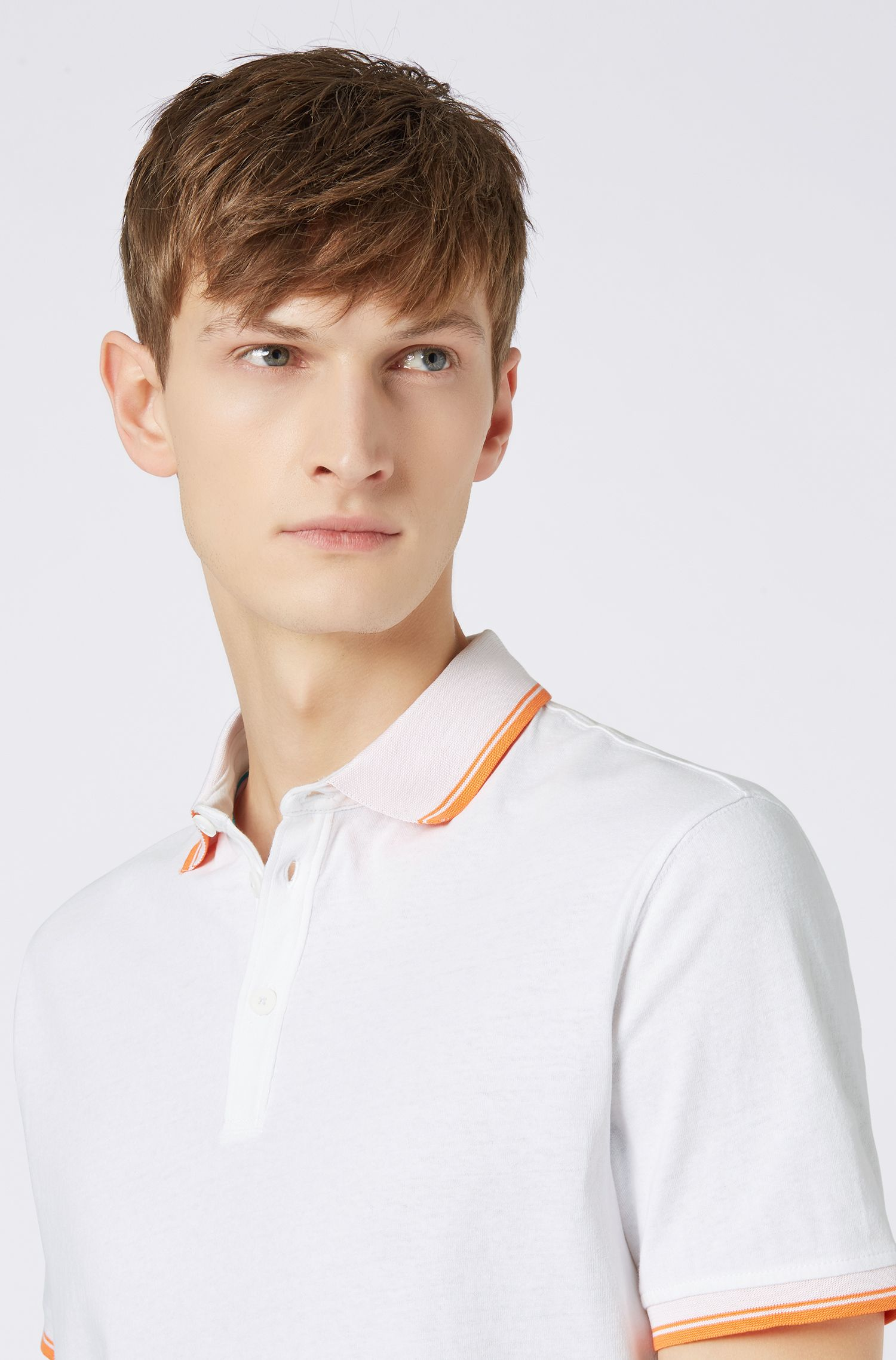 Polo relaxed fit de punto con ribeteado en contraste, Blanco