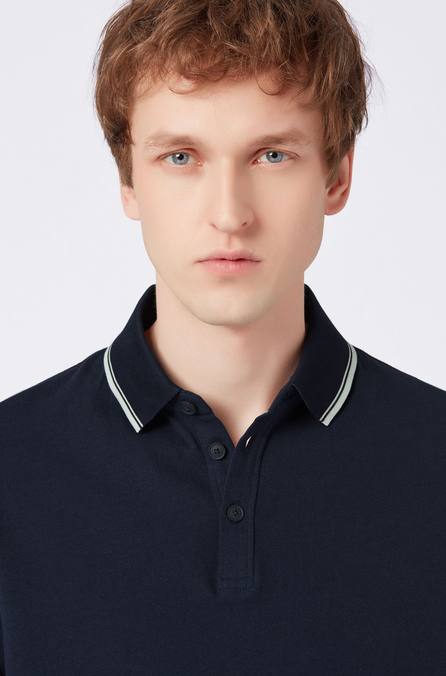 Relaxed-fit jersey polo shirt with contrast tipping, Dark Blue
