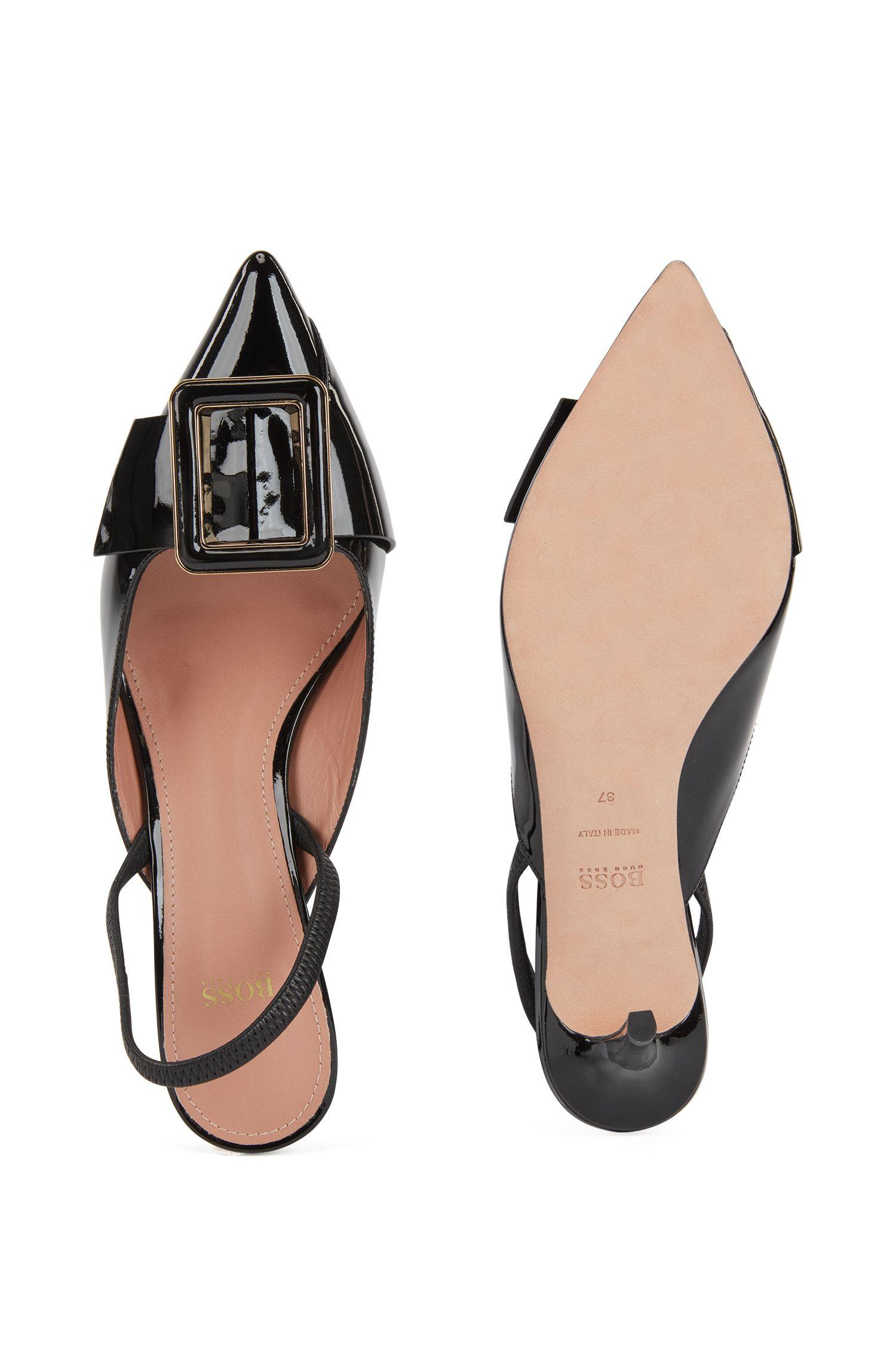 Zapatos de salón con talón abierto en charol de piel de becerro, Negro