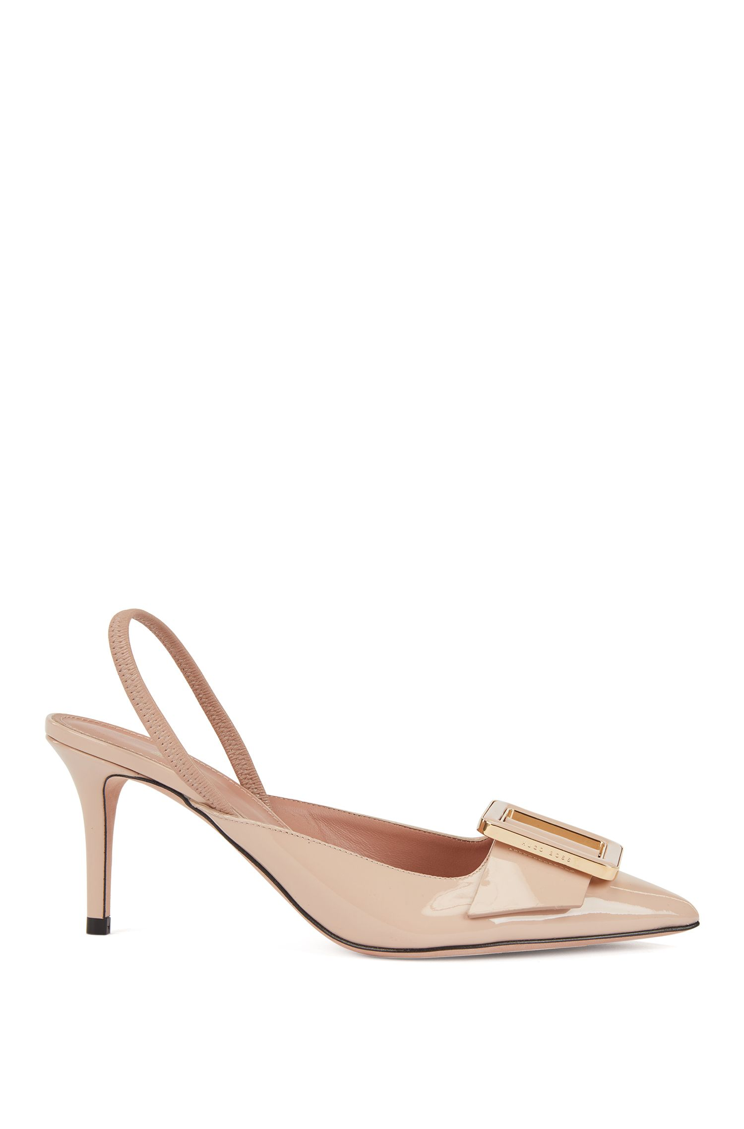 Slingback pumps in patent calf leather, Light Beige