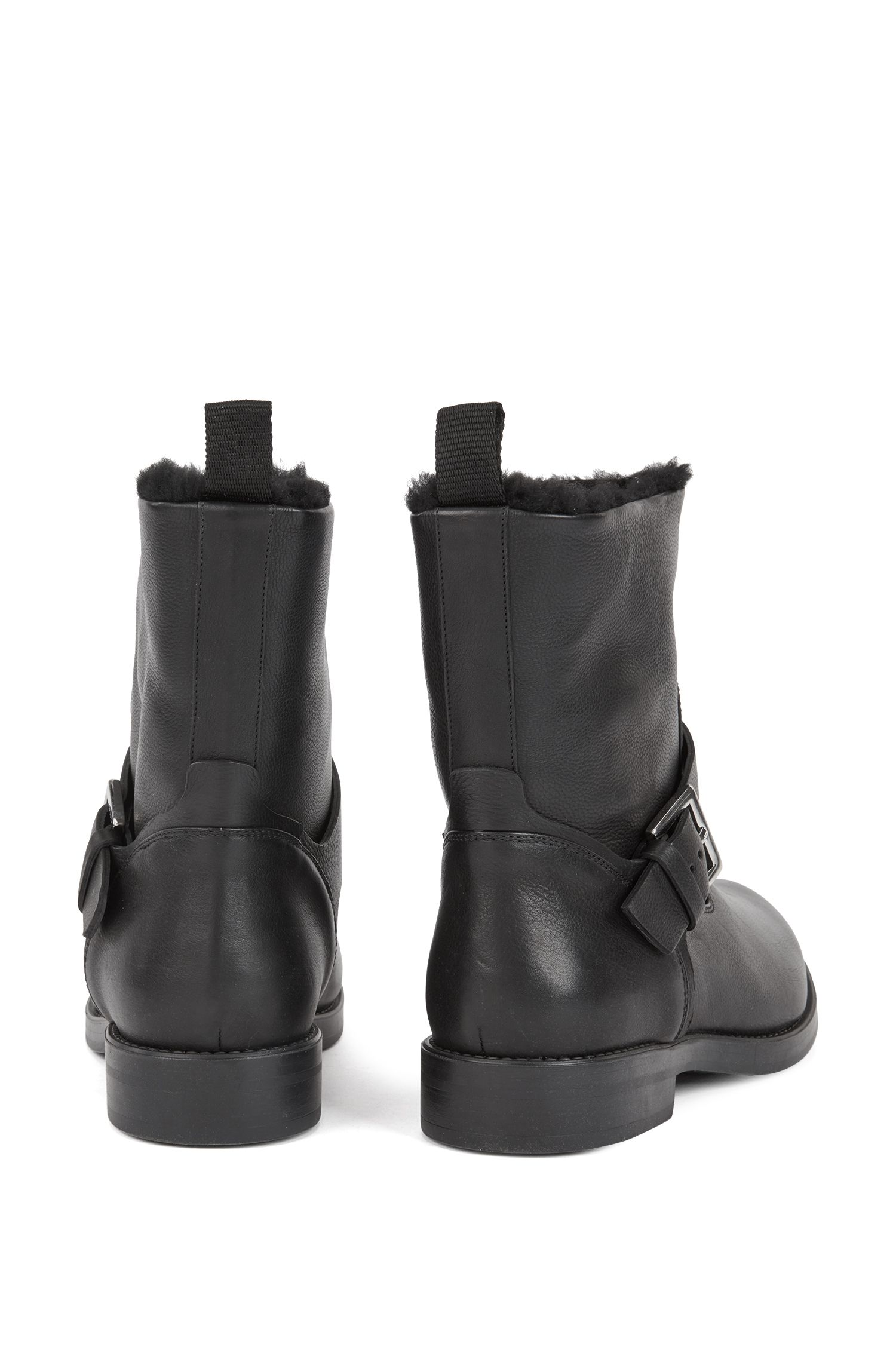 Sheepskin-lined biker boots in grained calf leather, Black