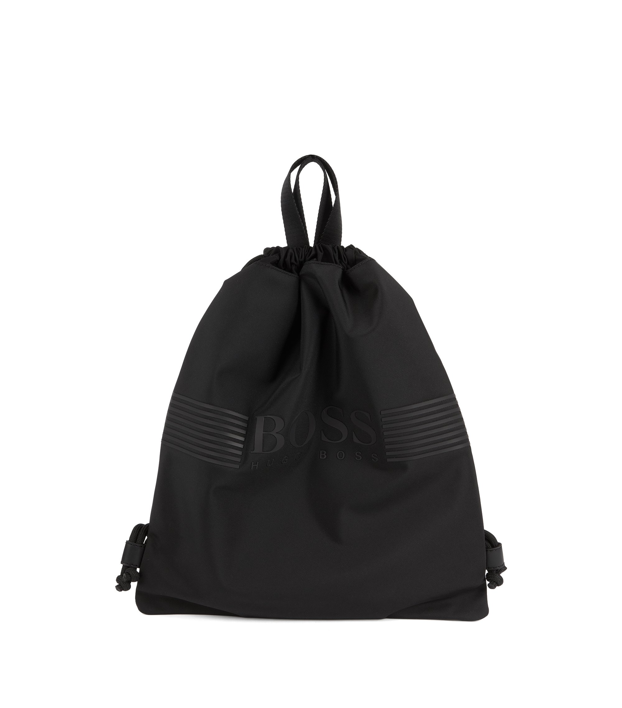 Drawstring backpack in nylon with rubberised logo, Black