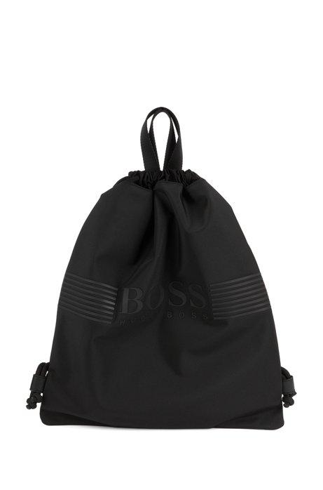 Rucksack aus Nylon mit Tunnelzug und gummiertem Logo, Schwarz
