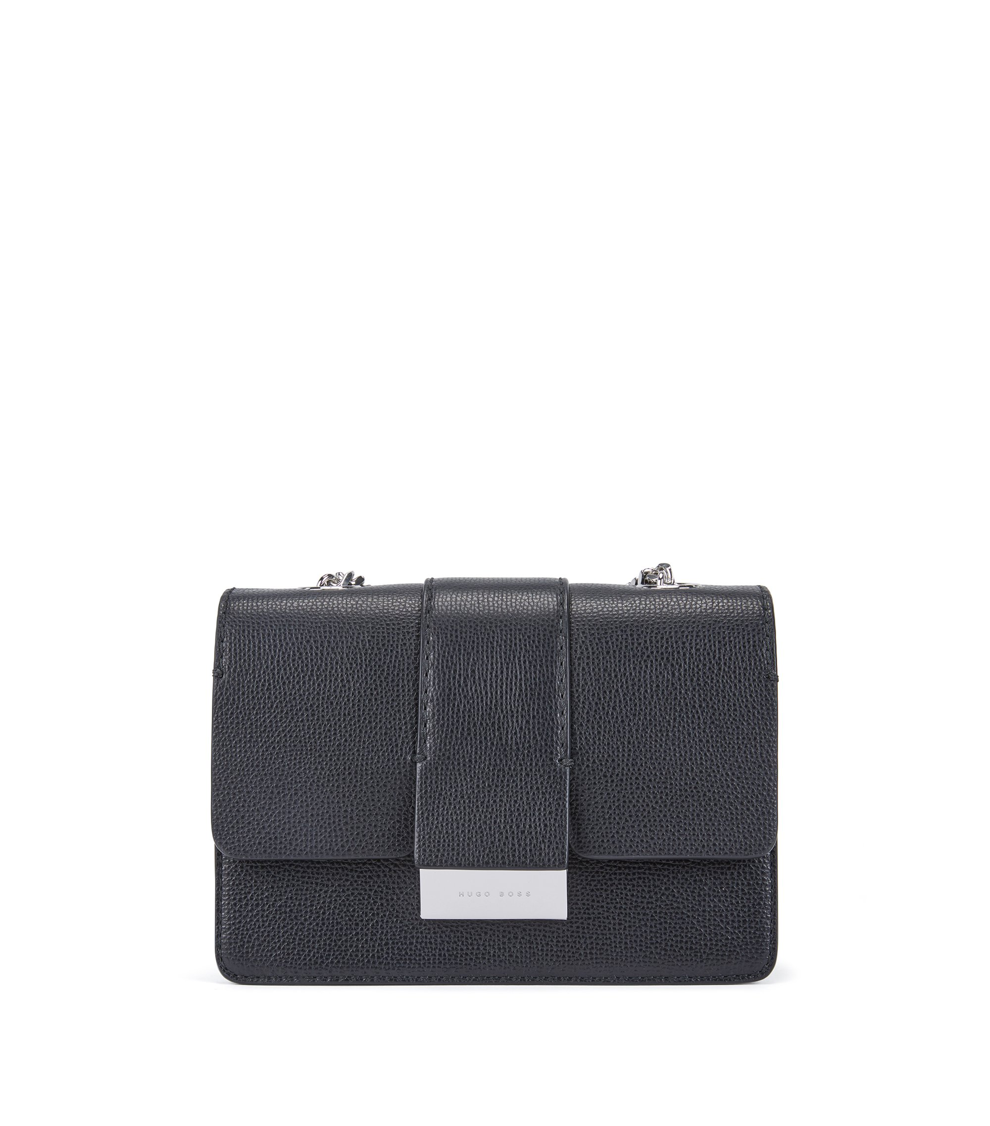 Crossbody bag in grained Italian leather with chain detail, Black