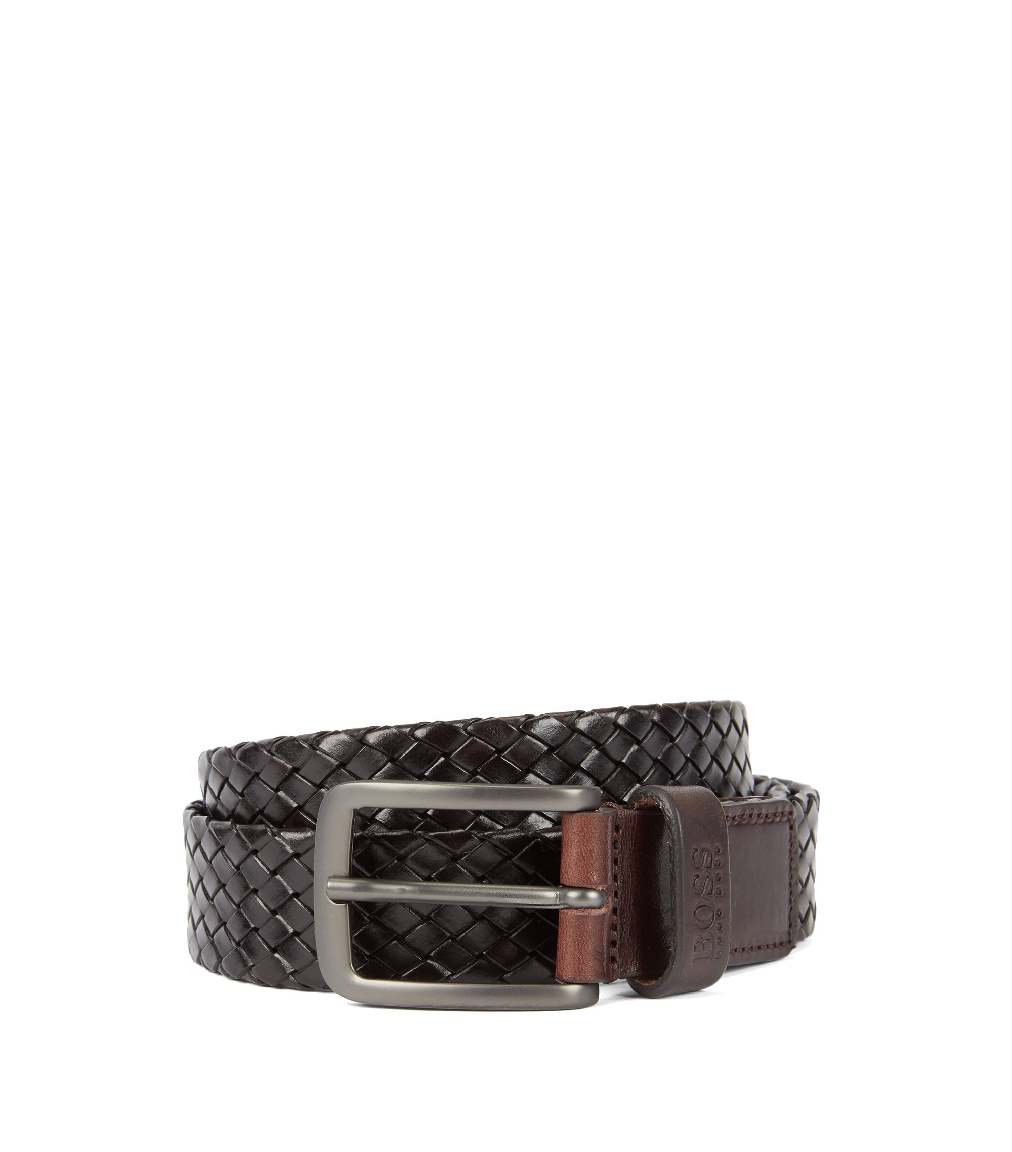 Woven-leather belt with matt gunmetal buckle, Dark Brown