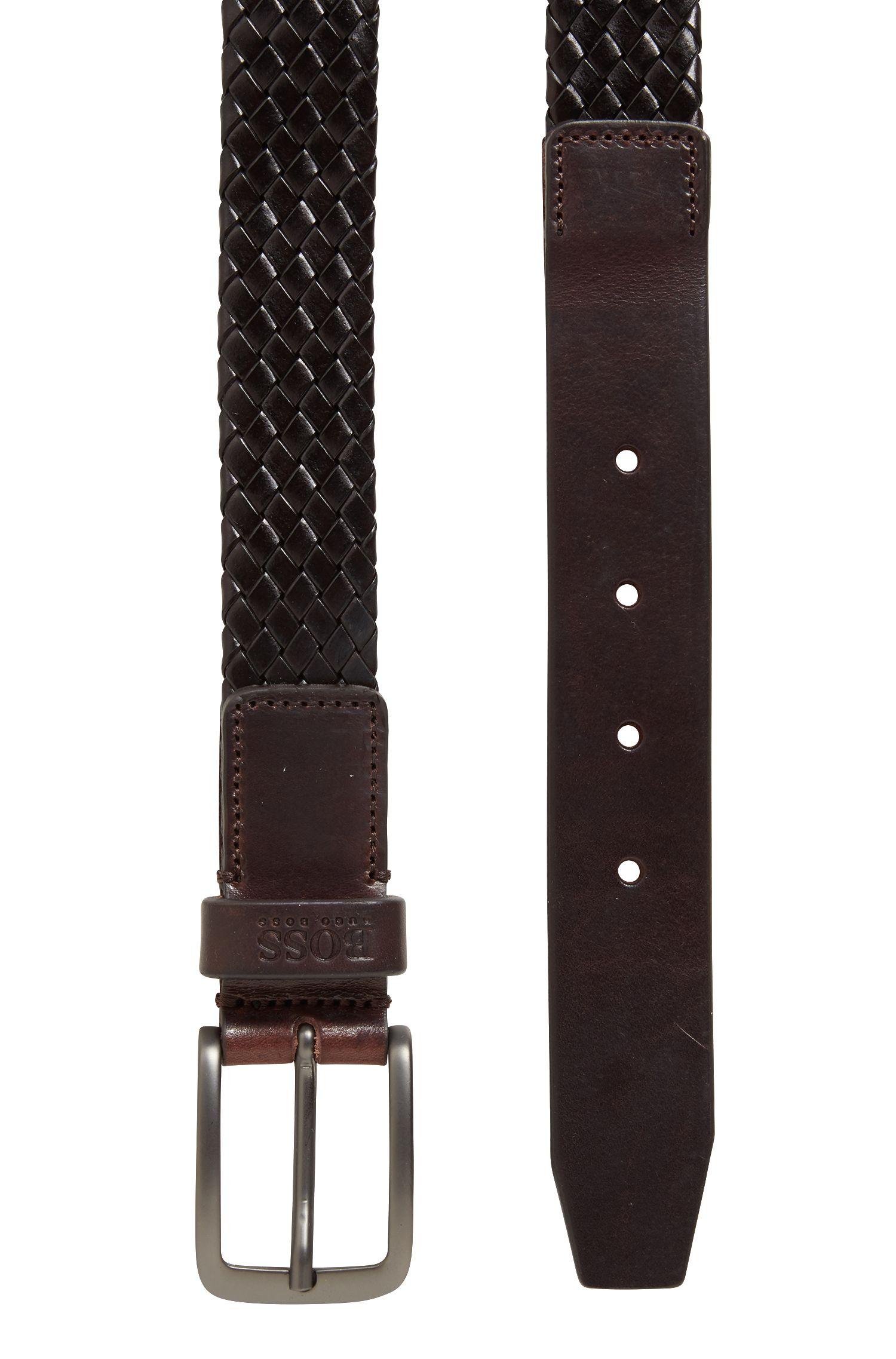 Cintura in pelle lavorata con fibbia color canna di fucile opaco, Marrone scuro