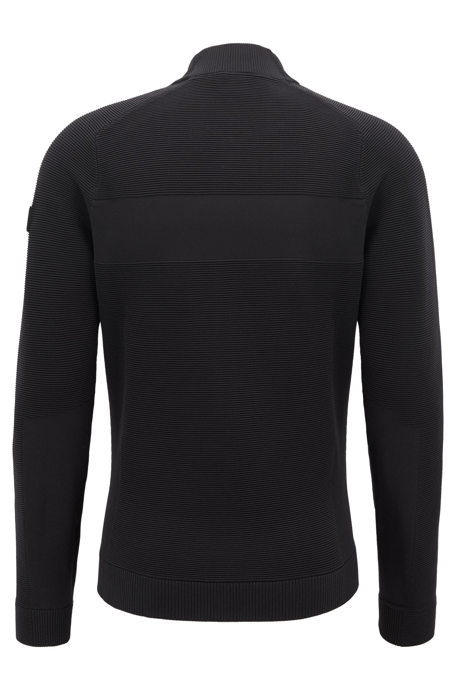Knitted sweater with centre zip and chest pocket, Black