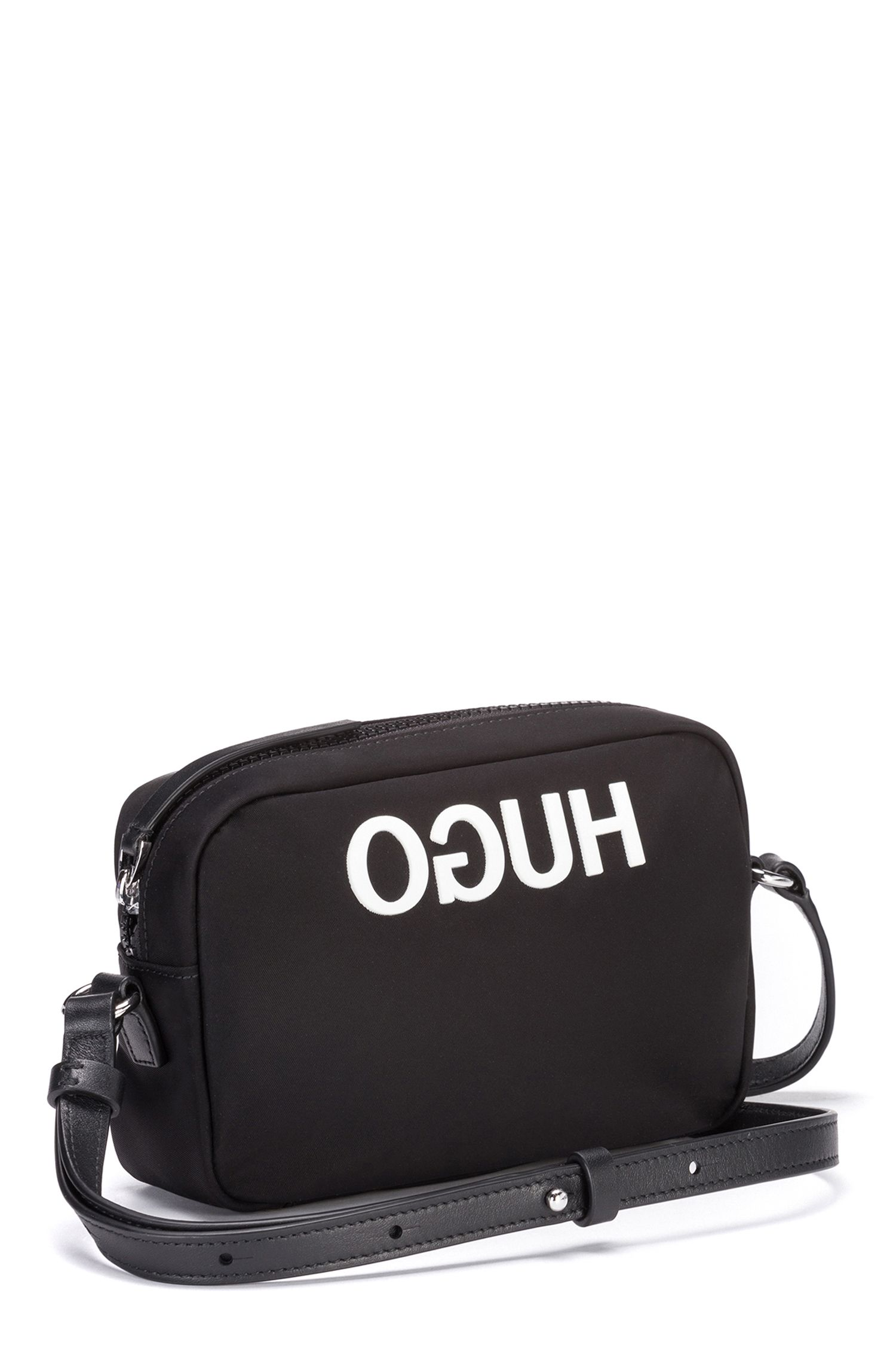 Reverse-logo crossbody bag in nylon gabardine, Black