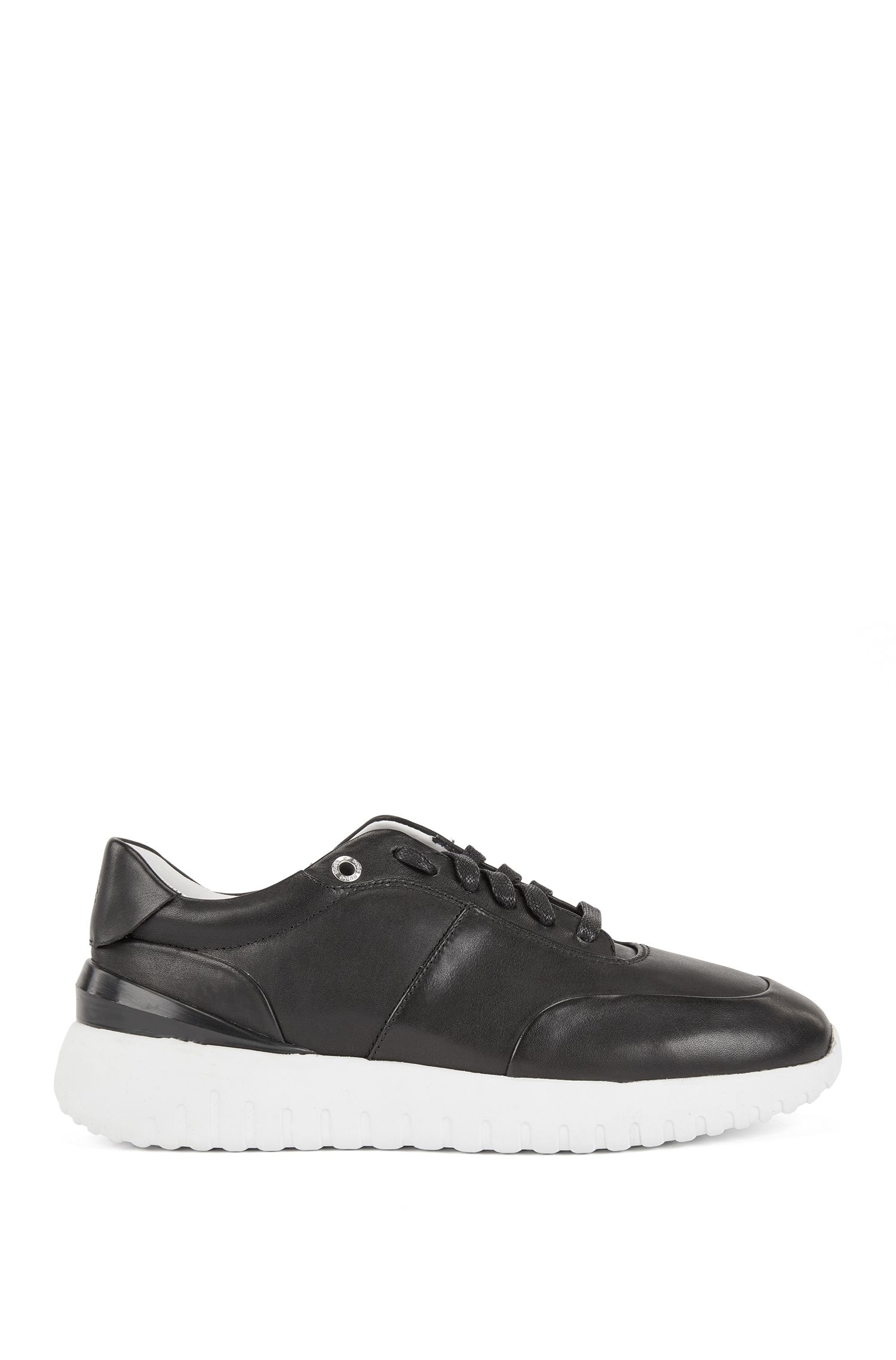 Leather trainers with pumped-up outsole, Black