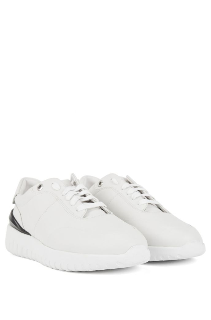 Leather trainers with pumped-up outsole