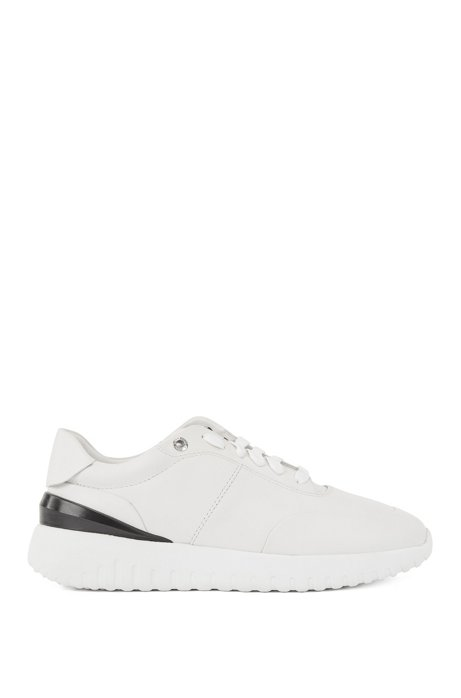 Leather trainers with pumped-up outsole, White