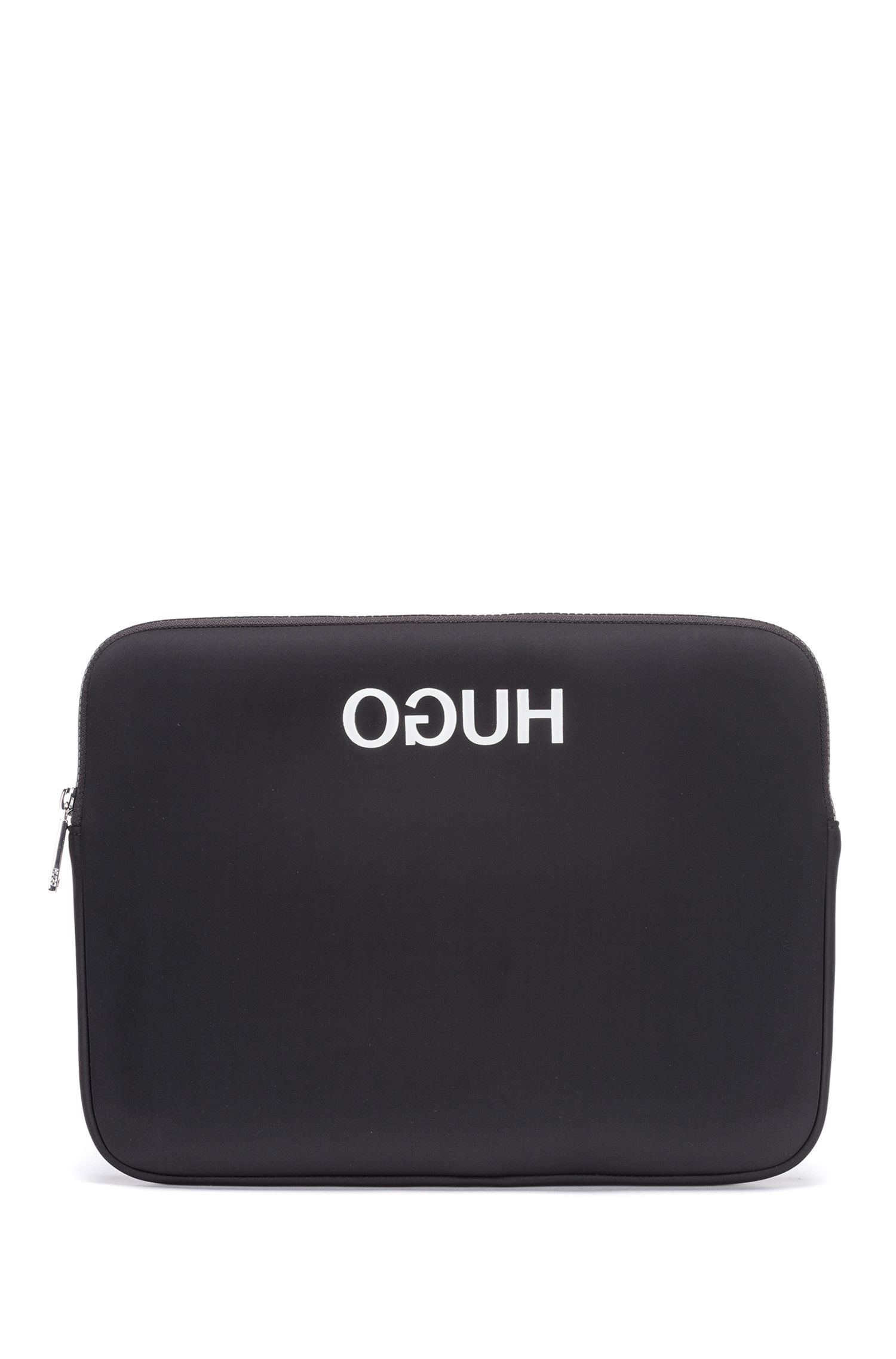 Reverse-logo laptop case in neoprene, Black