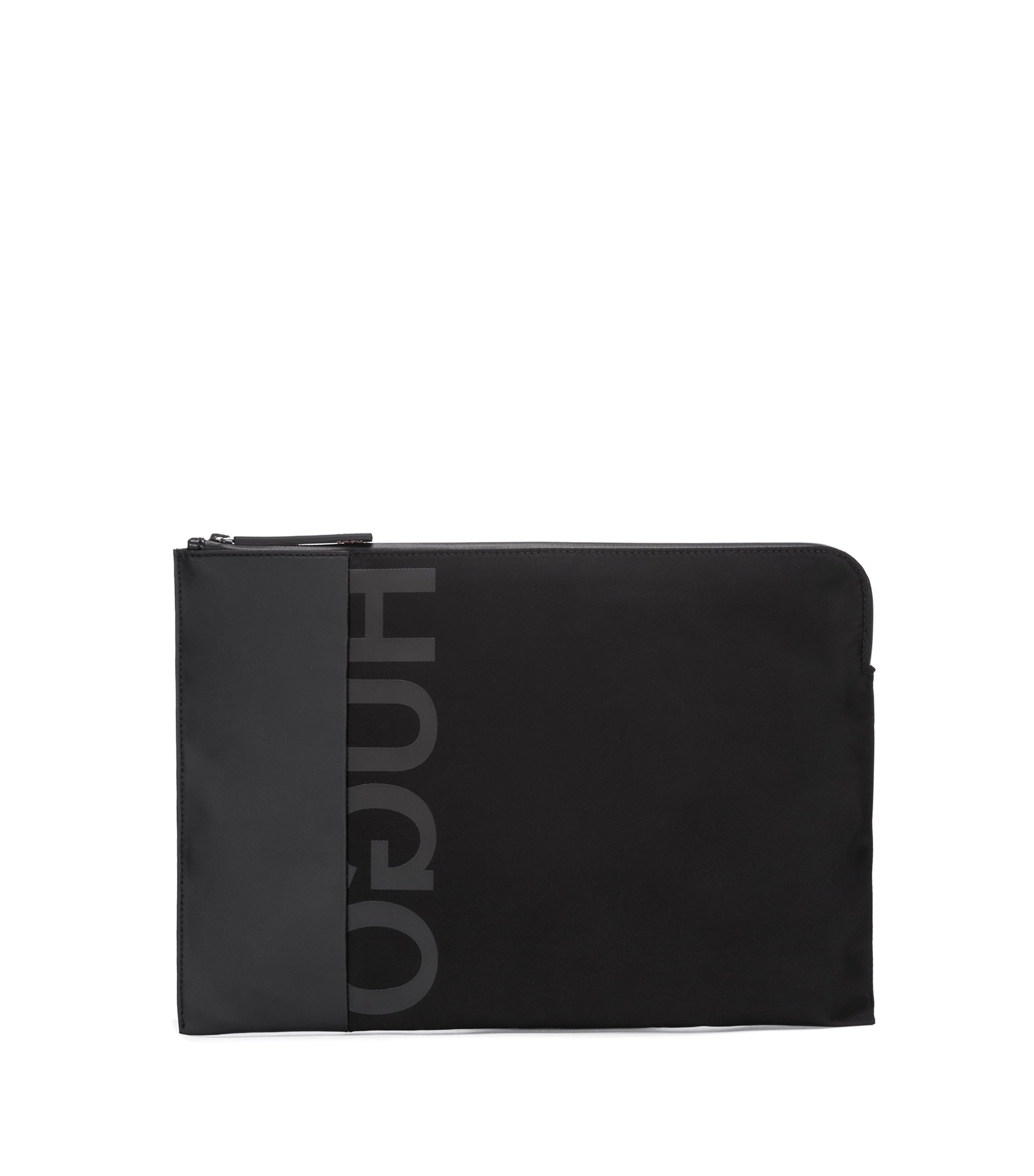 Gabardine portfolio case with reverse logo and gunmetal hardware, Black