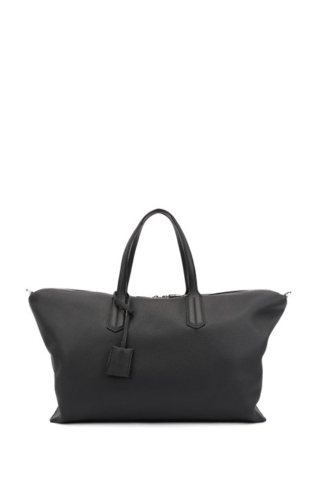 Weekend holdall in grained Italian leather with lock closure, Zwart
