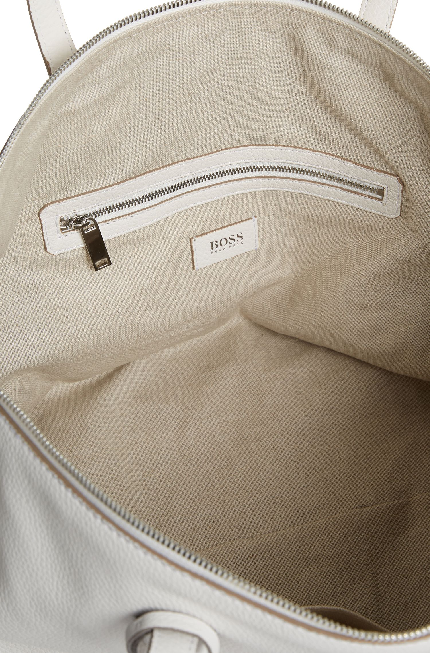Weekend holdall in grained Italian leather with lock closure, White
