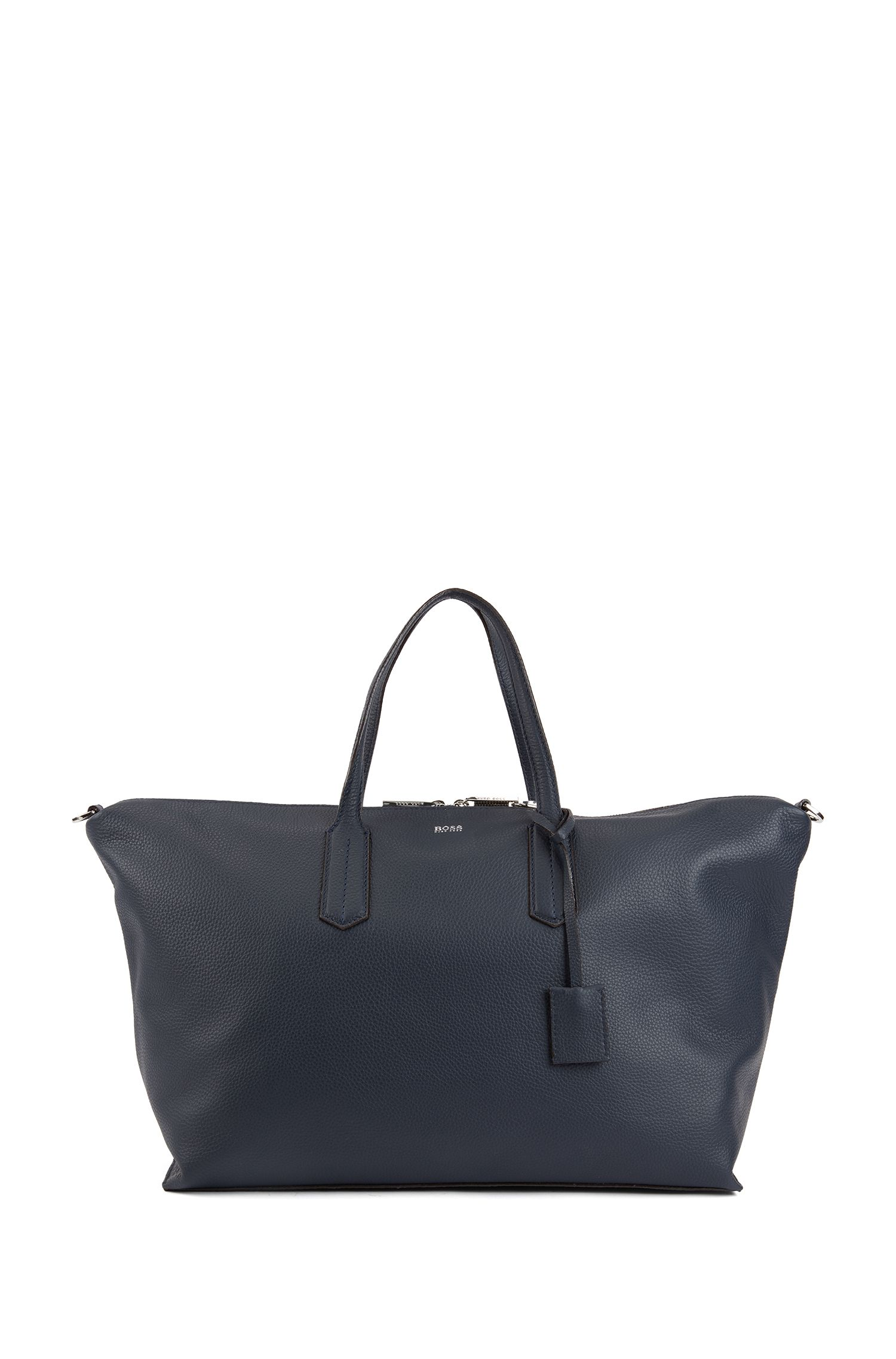 Weekend holdall in grained Italian leather with lock closure, Bleu foncé