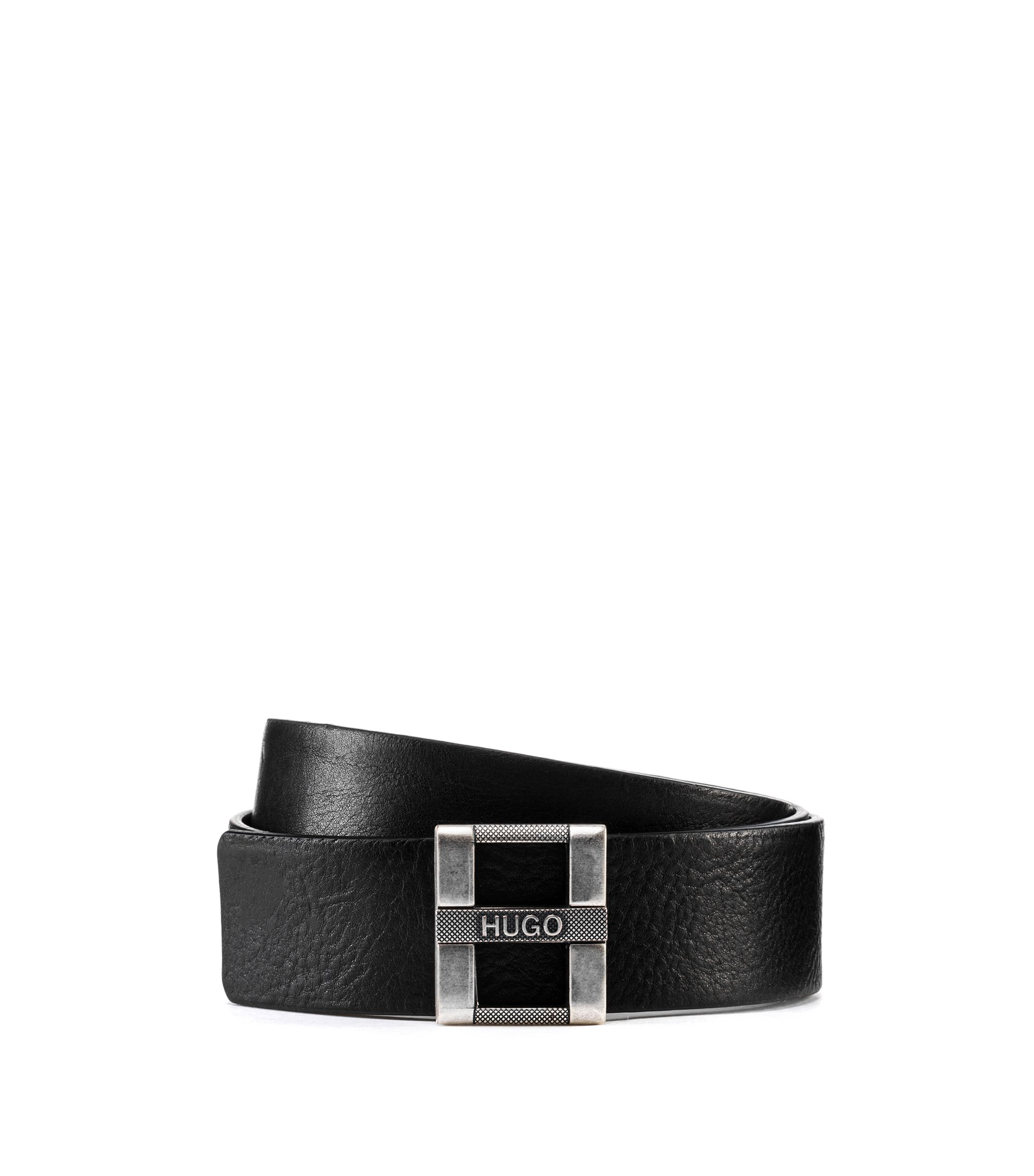 Reversible Italian-leather belt with H buckle, Black