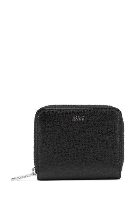 Small ziparound wallet in grainy Italian leather, Black