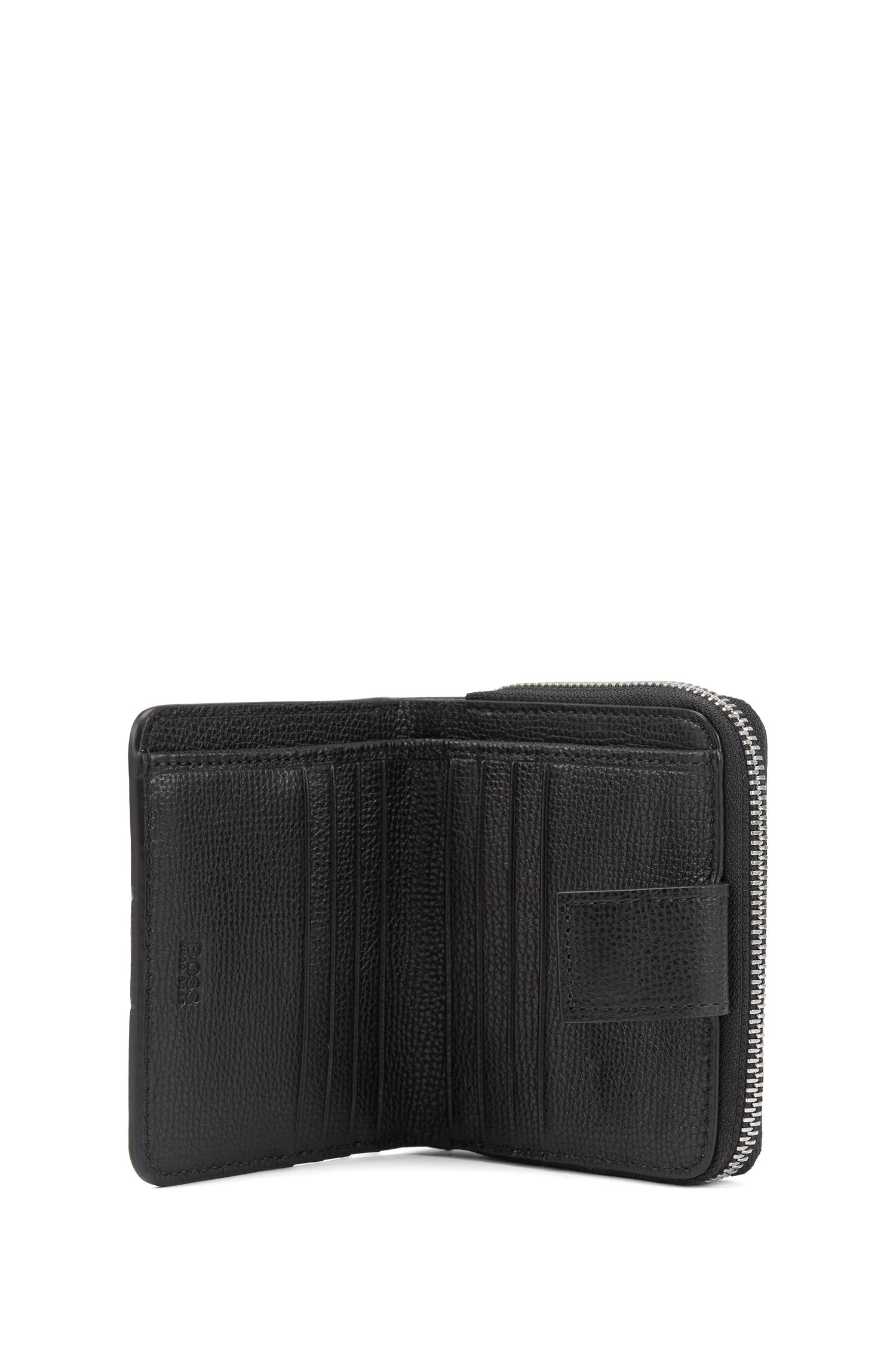 Small ziparound wallet in grainy Italian leather, Black